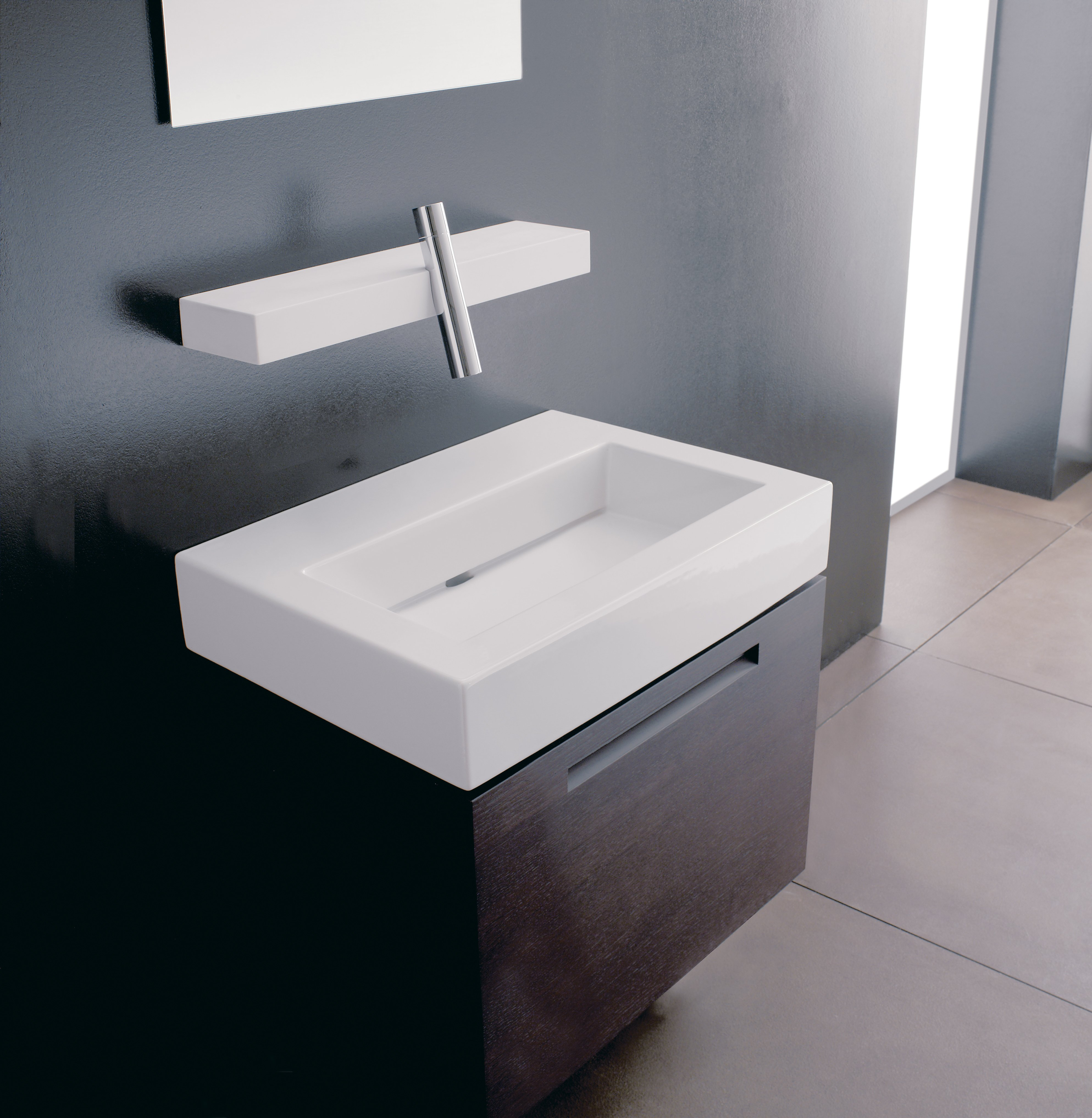 Blok countertop washbasin by rubinetterie 3m design for Bathroom wash basin counter designs