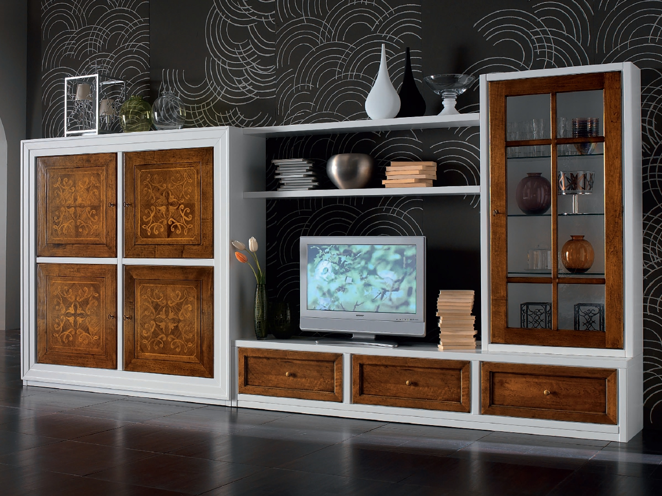anbau wohnwand aus holz kollektion ca 39 venier by cantiero. Black Bedroom Furniture Sets. Home Design Ideas
