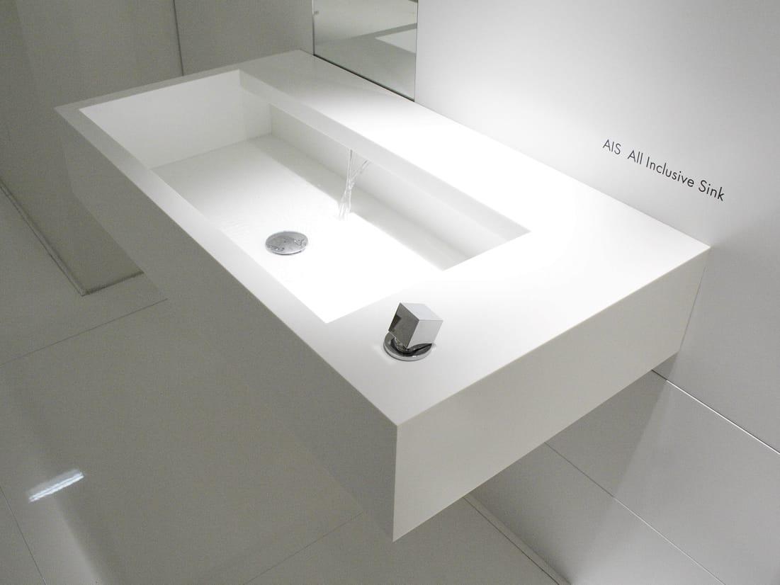Wall mounted corian washbasin ais by moab 80 design for Badezimmer corian
