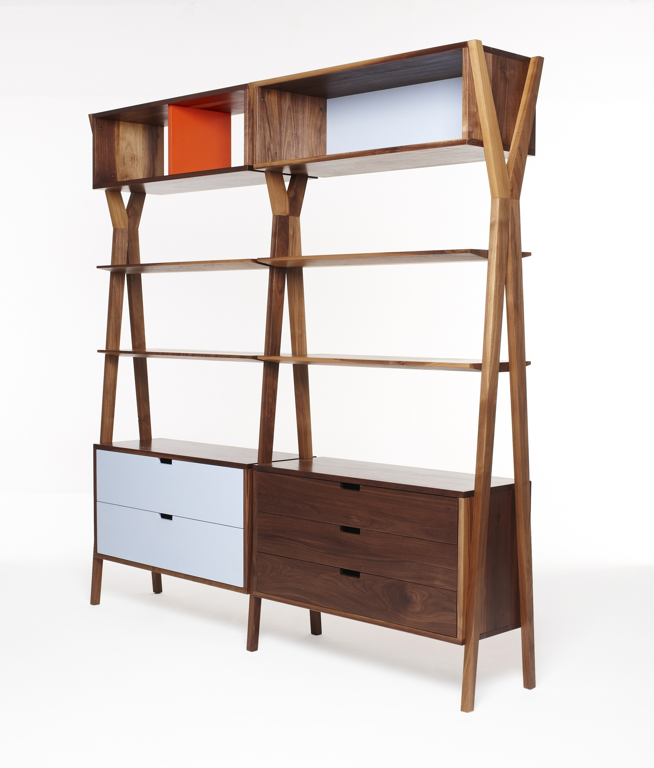 Open modular bookcase with drawers dixon by dare studio for Bookshelf with drawers