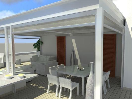 pergolato in acciaio inox con copertura scorrevole attico. Black Bedroom Furniture Sets. Home Design Ideas
