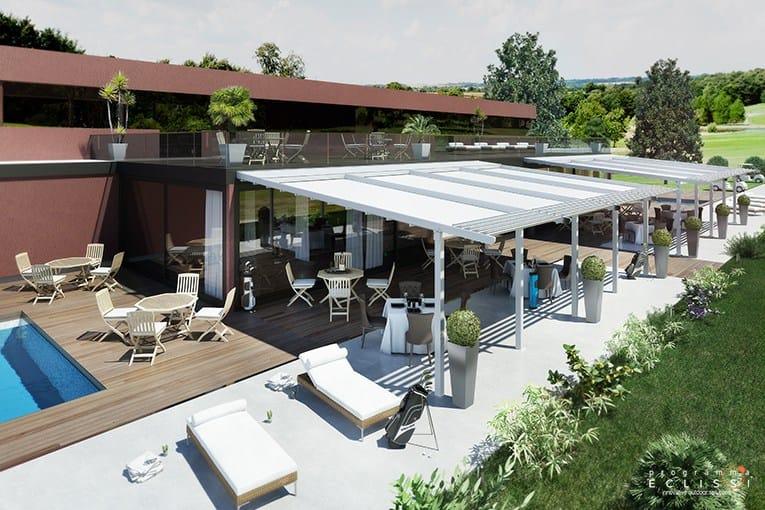 pergola en aluminium avec couverture coulissante avec. Black Bedroom Furniture Sets. Home Design Ideas