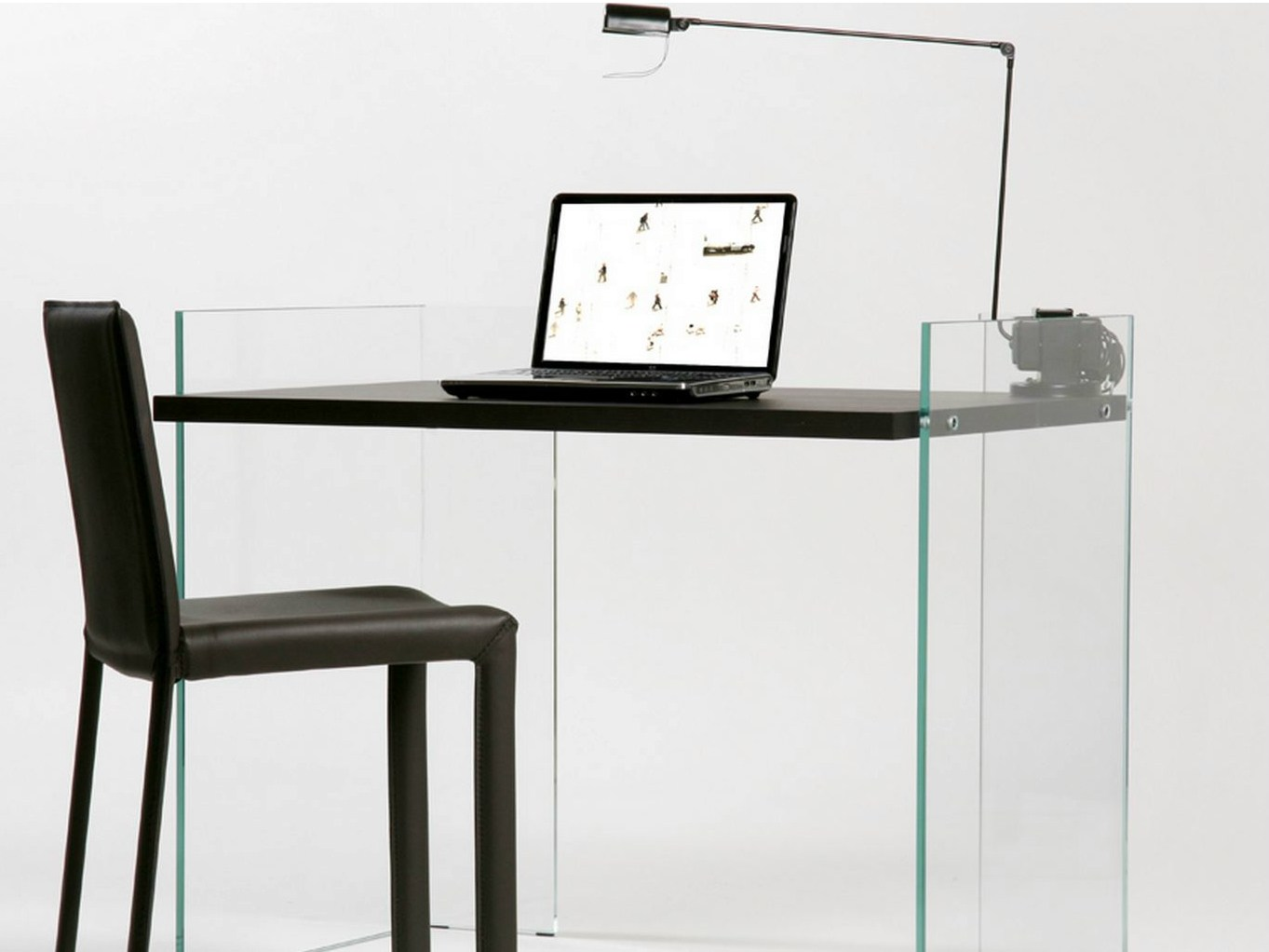 Tempered glass writing desk scribe   zen 8 by adentro design ...