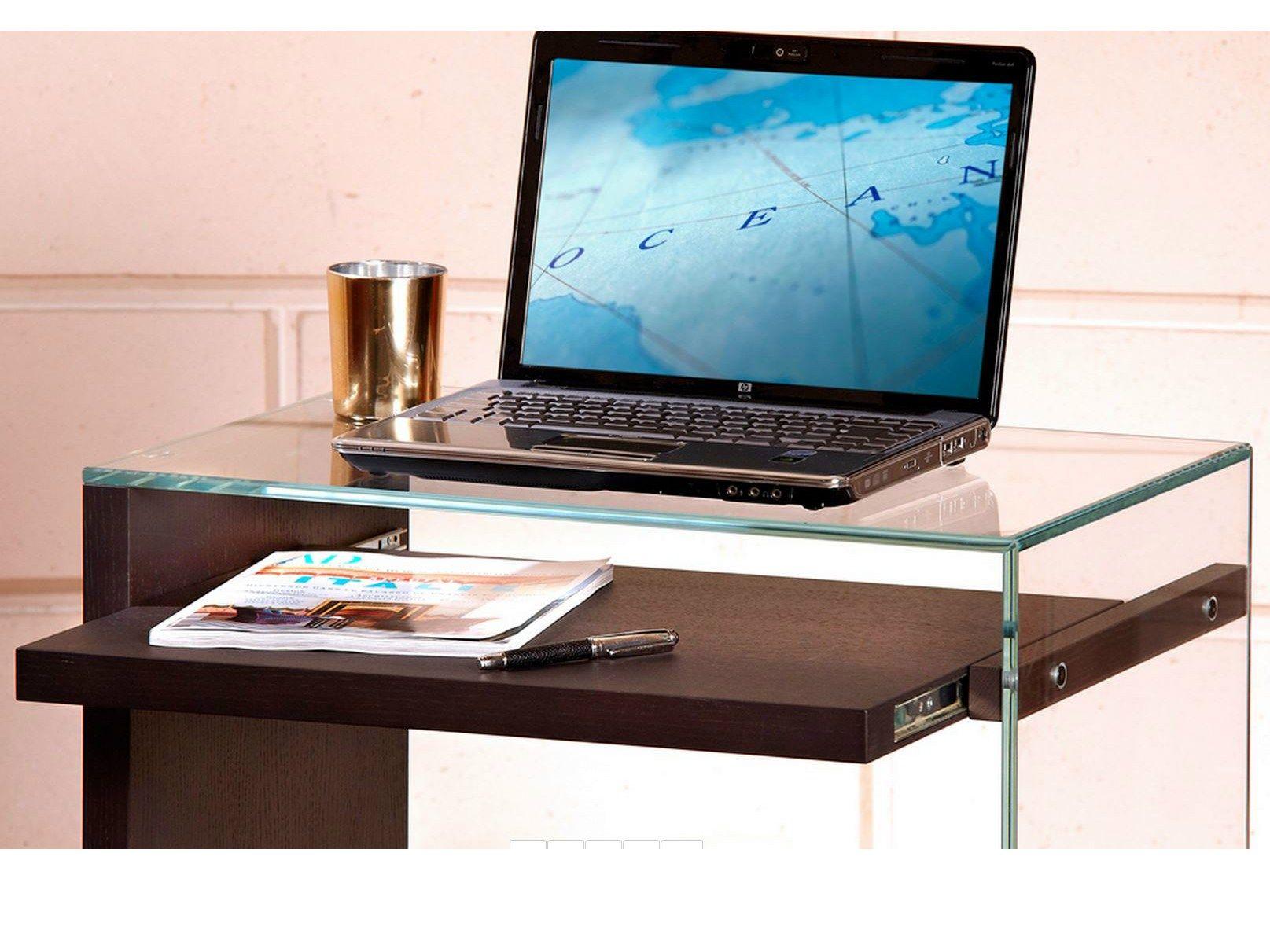 Mueble para ordenador de vidrio templado con ruedas laptop for Muebles para ordenador