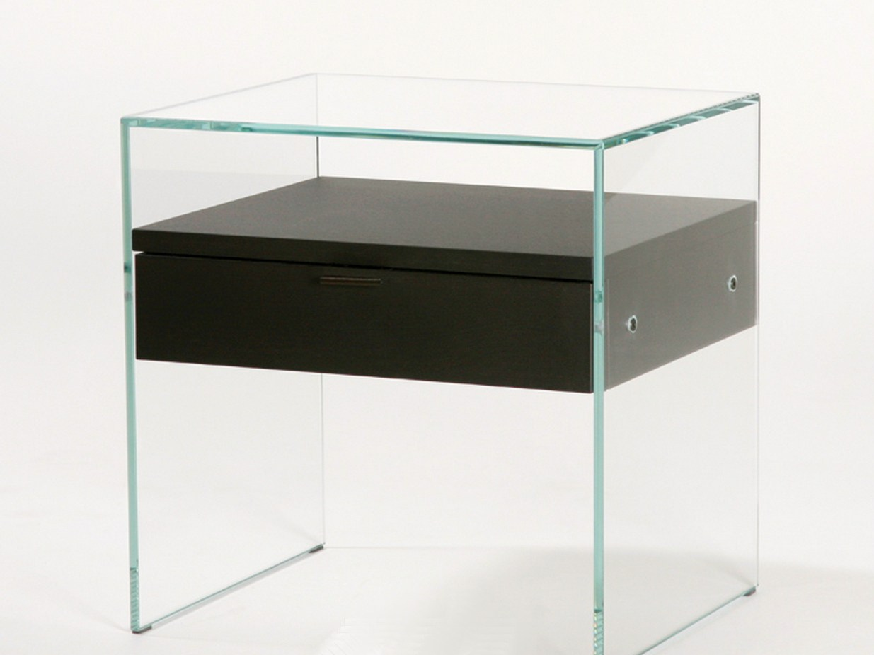 Comodino rettangolare in vetro temperato comodino zen 5 by adentro design a - Table de chevet verre ...