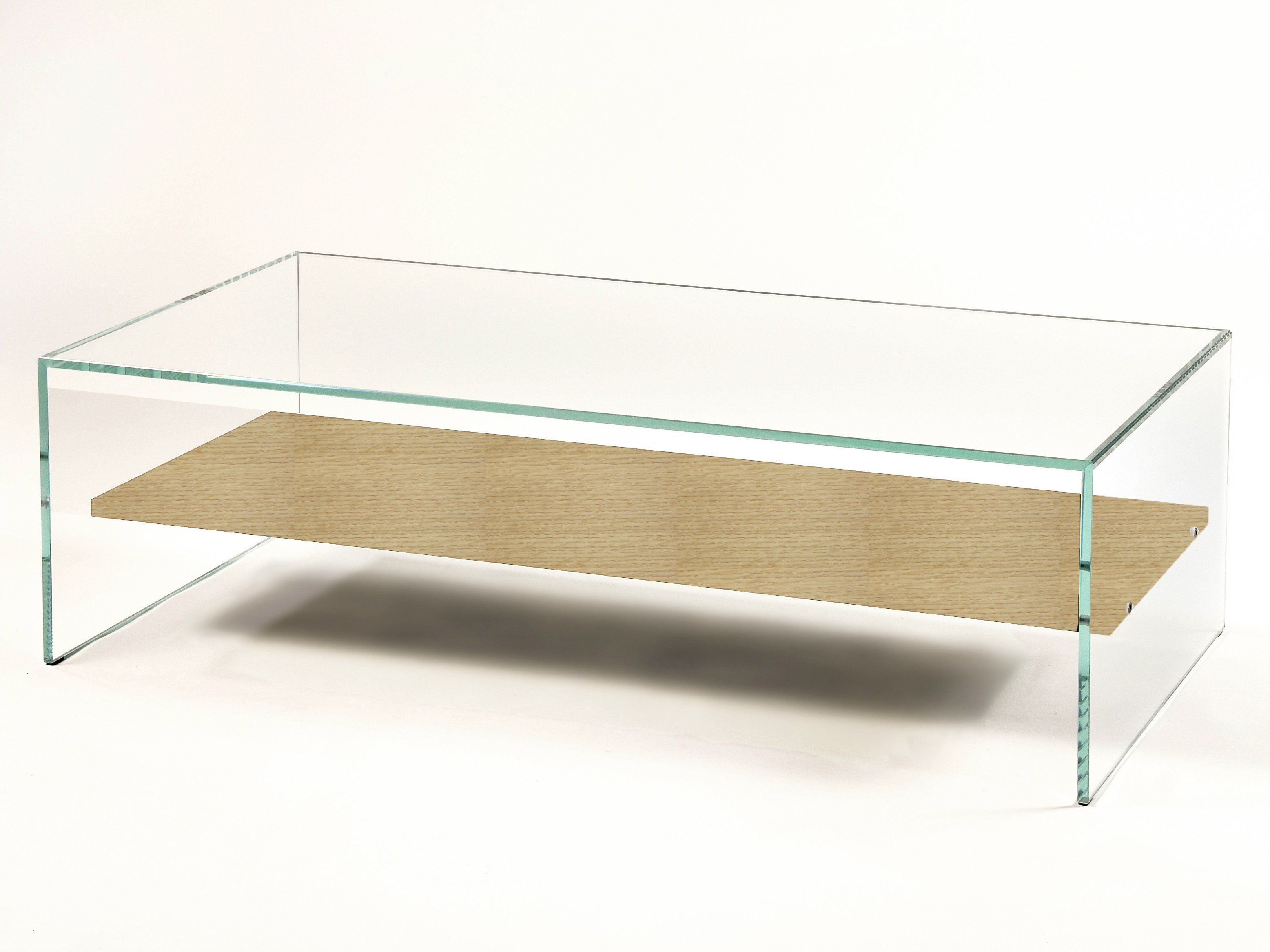 Table basse avec plateau bois verre tremp extra clair for Table de salon plexiglass