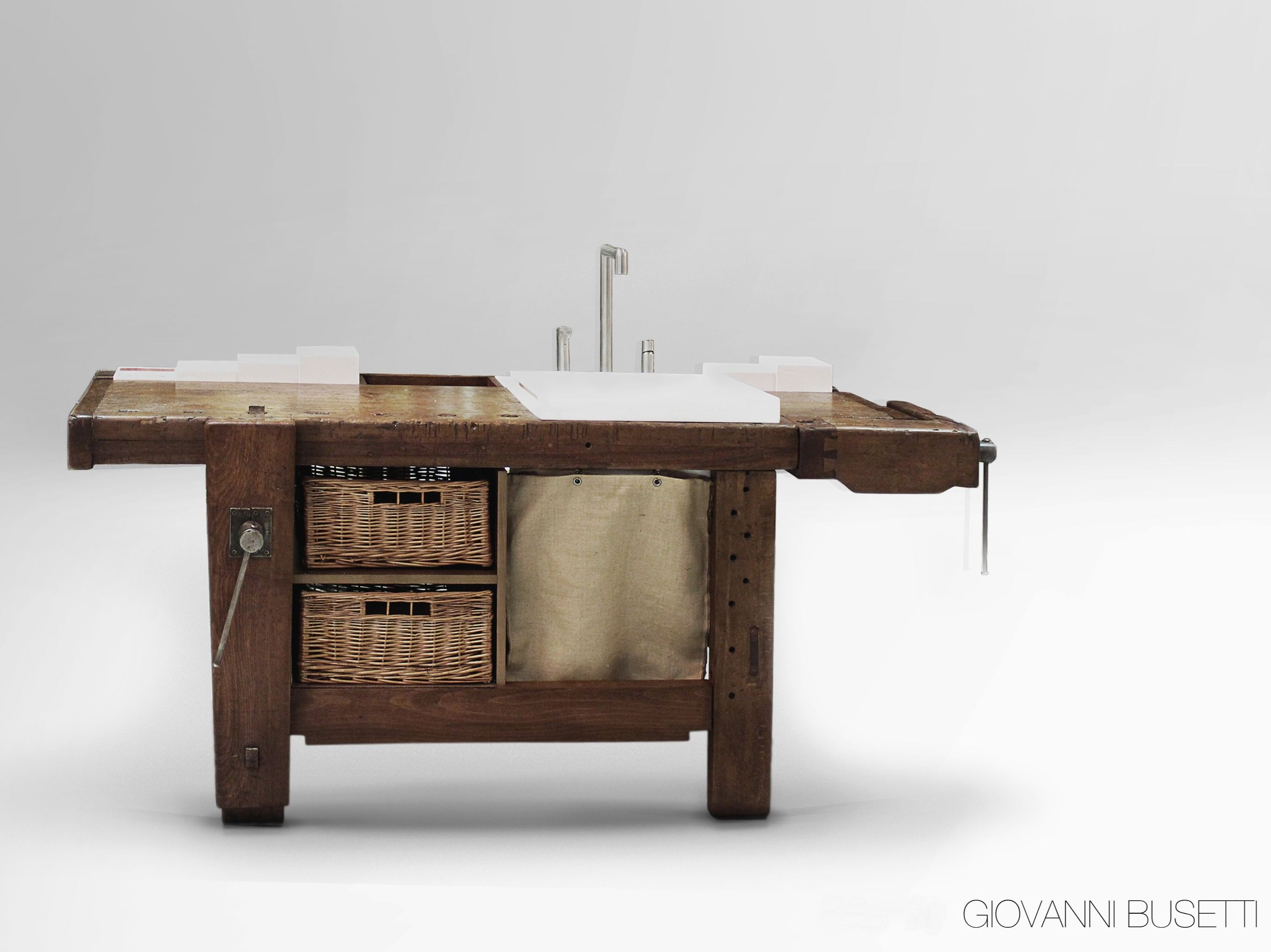 Mobiele Werktafel Keuken : Table Made into Bathroom Vanity
