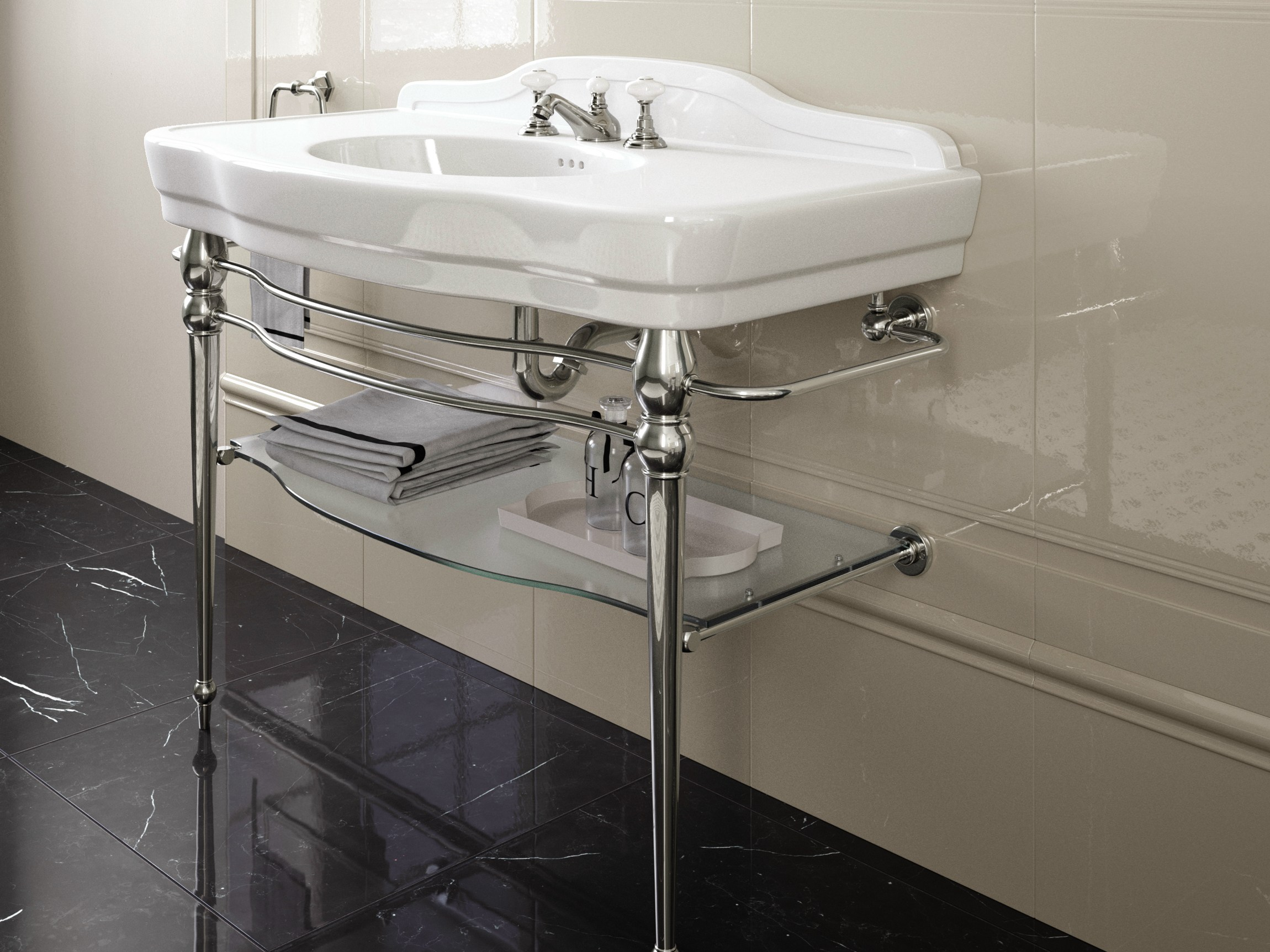 console washbasin with towel rail melody by devon devon. Black Bedroom Furniture Sets. Home Design Ideas