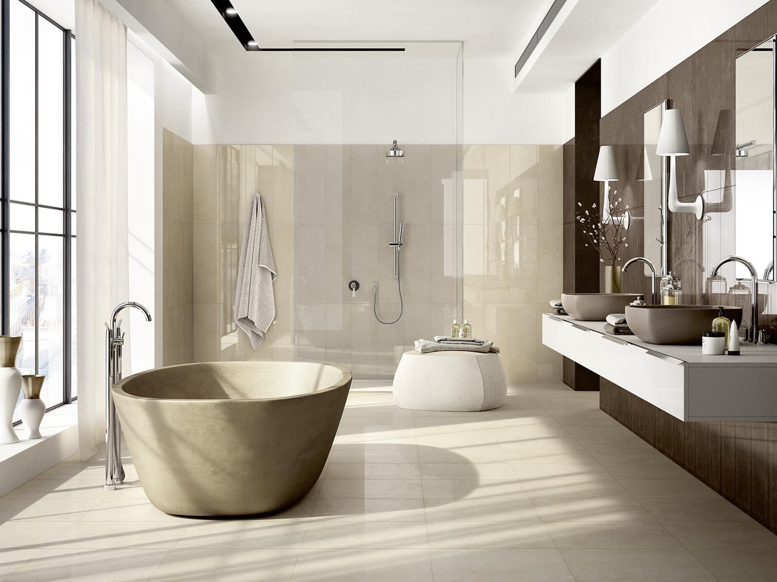 Glazed Stoneware Wall Floor Tiles With Marble Effect