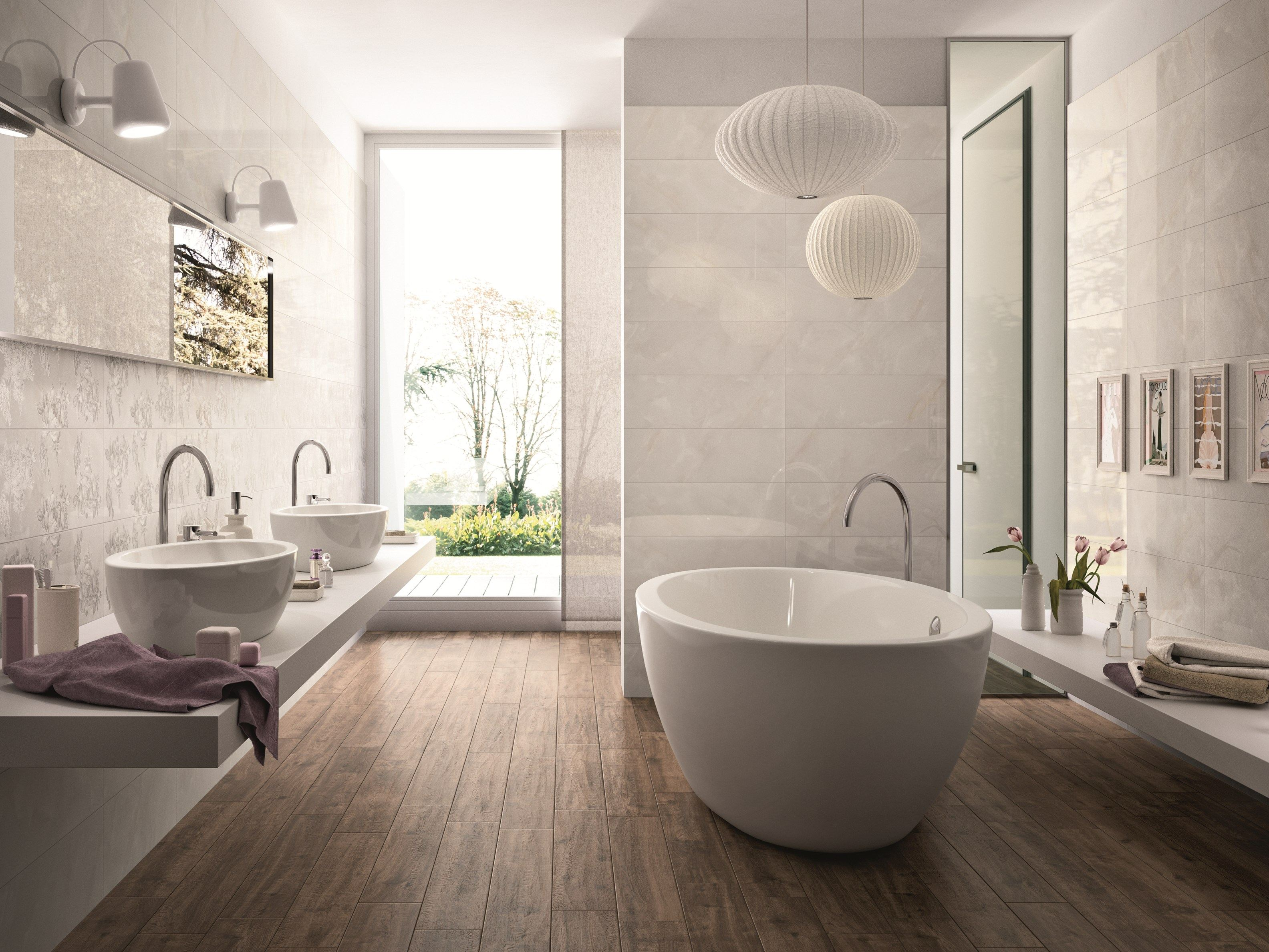 Glazed stoneware wall floor tiles with marble effect for Salle de bains porcelanosa