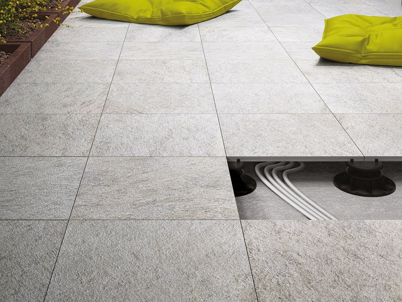 Glazed stoneware outdoor floor tiles multiquartz 20 by marazzi for Dalle exterieur 60x60