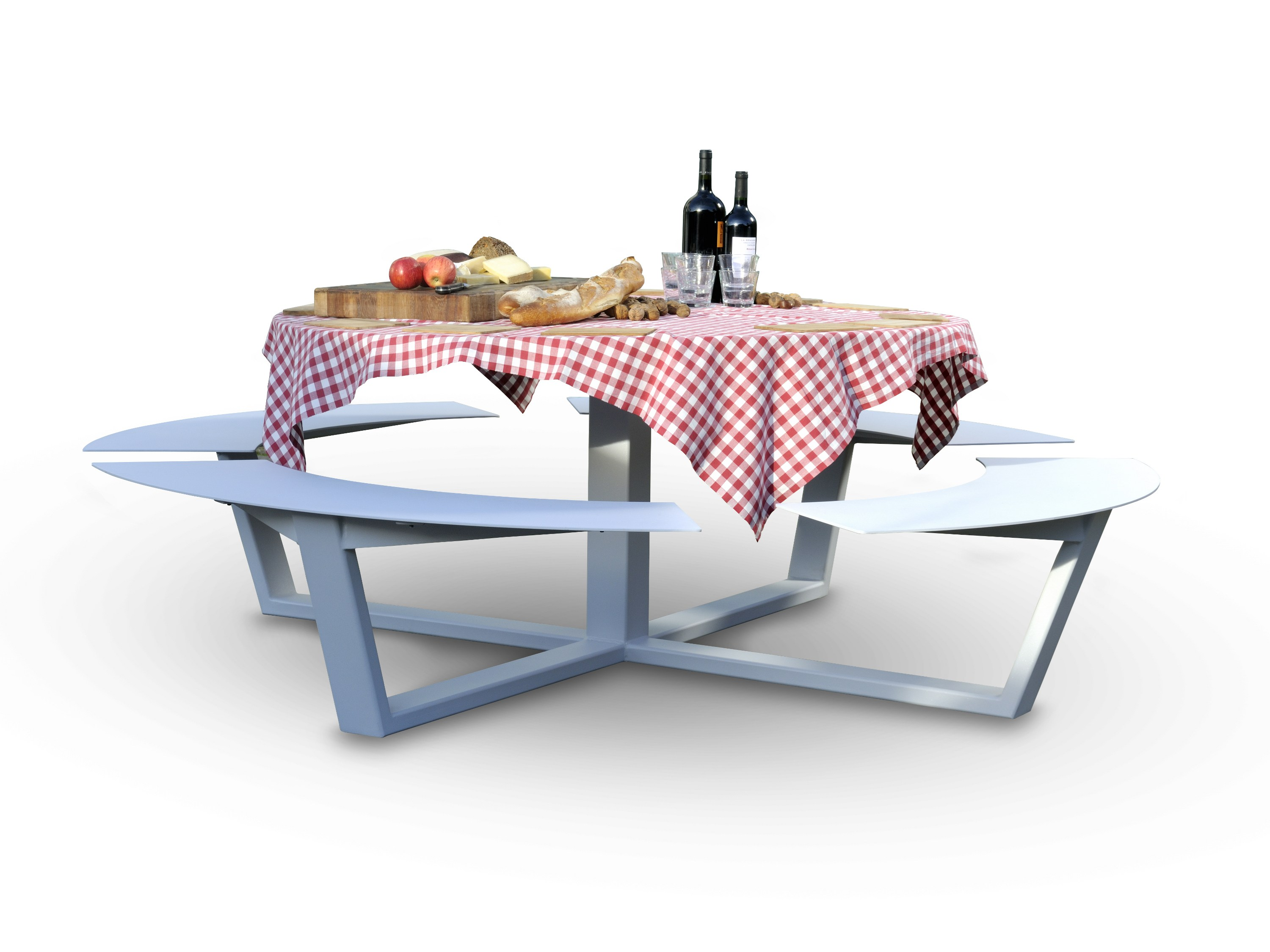Round picnic table with integrated benches la grande ronde for Grande table ronde