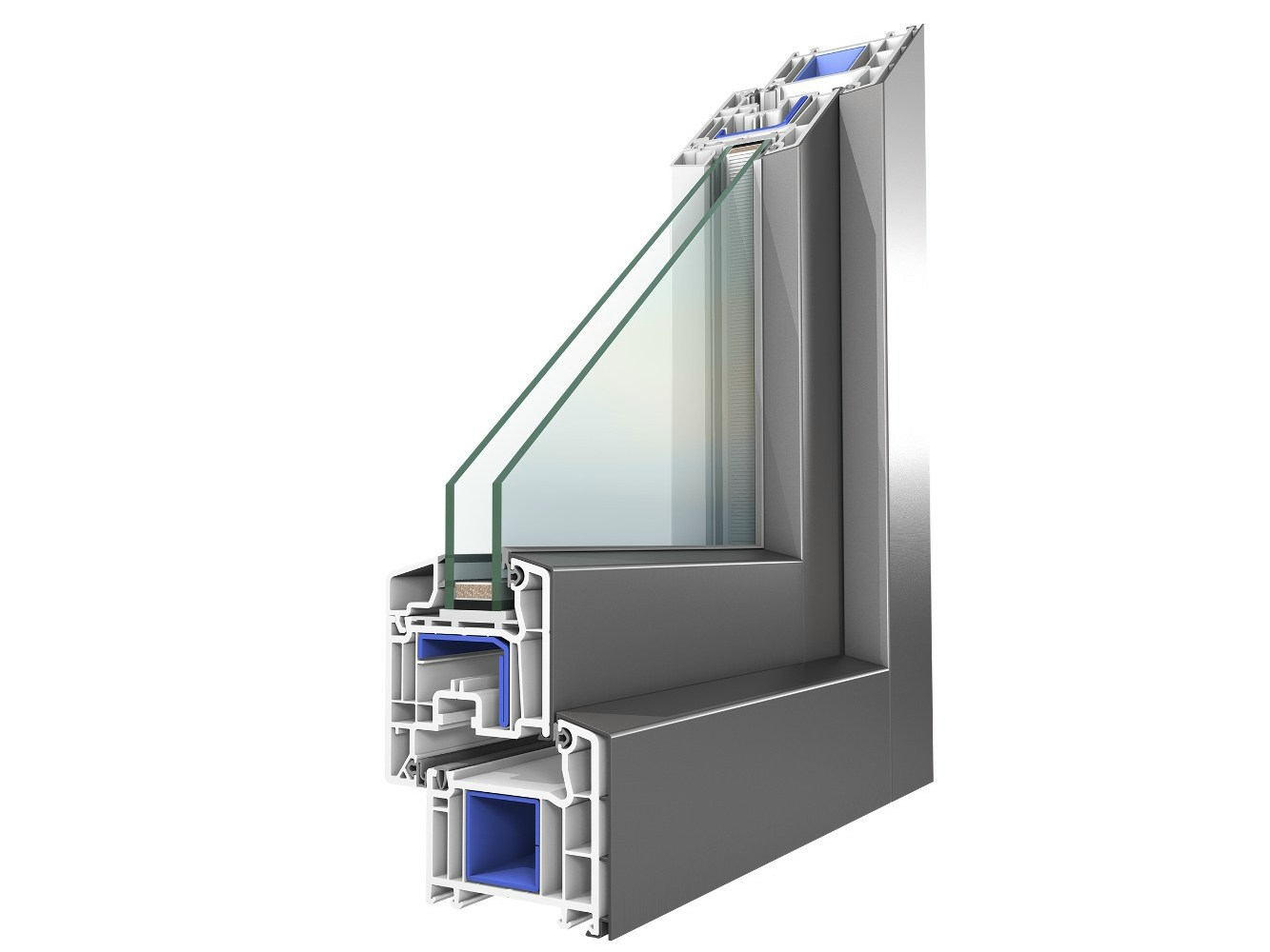Aluminium and pvc double glazed window koncept alu by for Fenetre pvc aluminium