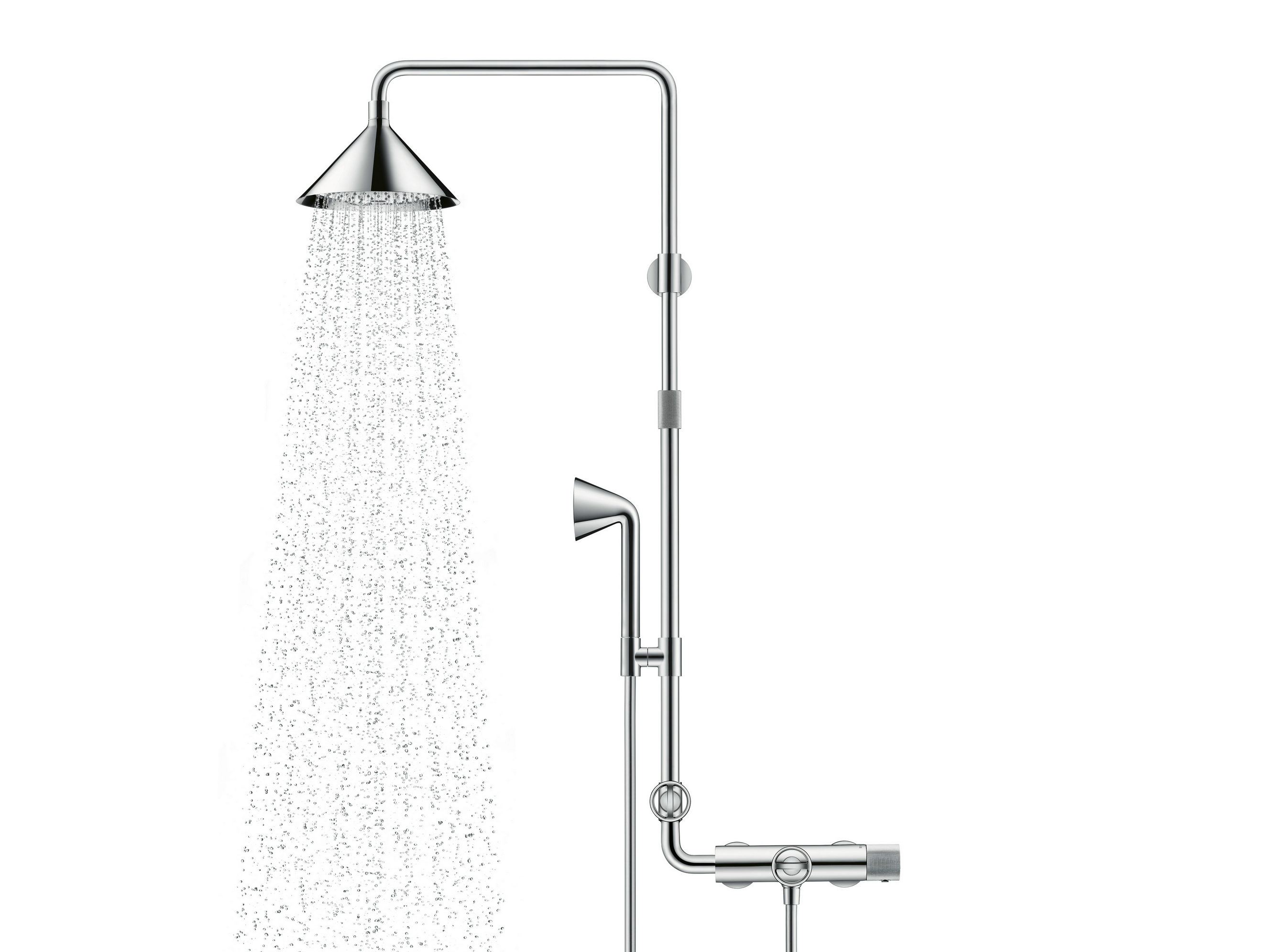 colonne de douche en acier inoxydable axor shower pipe by hansgrohe design front. Black Bedroom Furniture Sets. Home Design Ideas