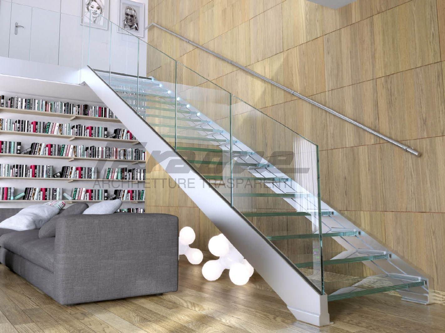 Escalera abierta en acero y vidrio ninfa s by faraone - Escaleras de acero y cristal ...