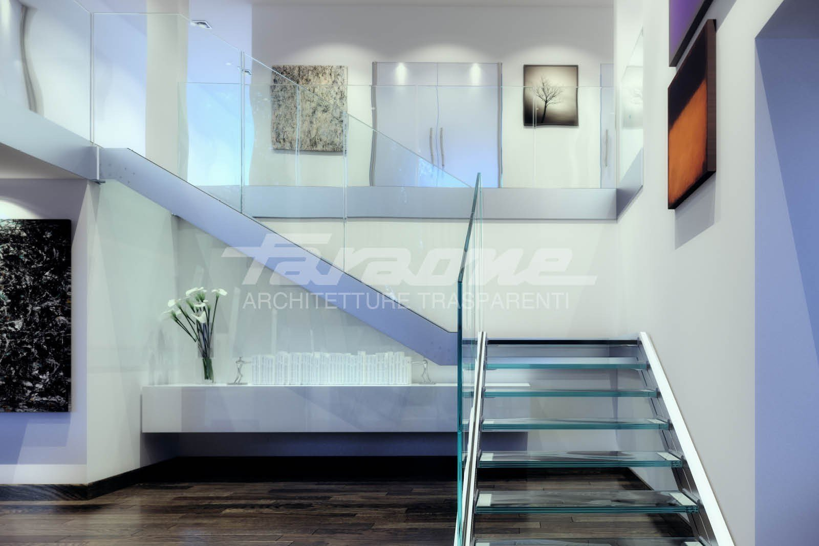 Escalier ouvert en acier et verre ninfa s by faraone - Escalier ouvert ...