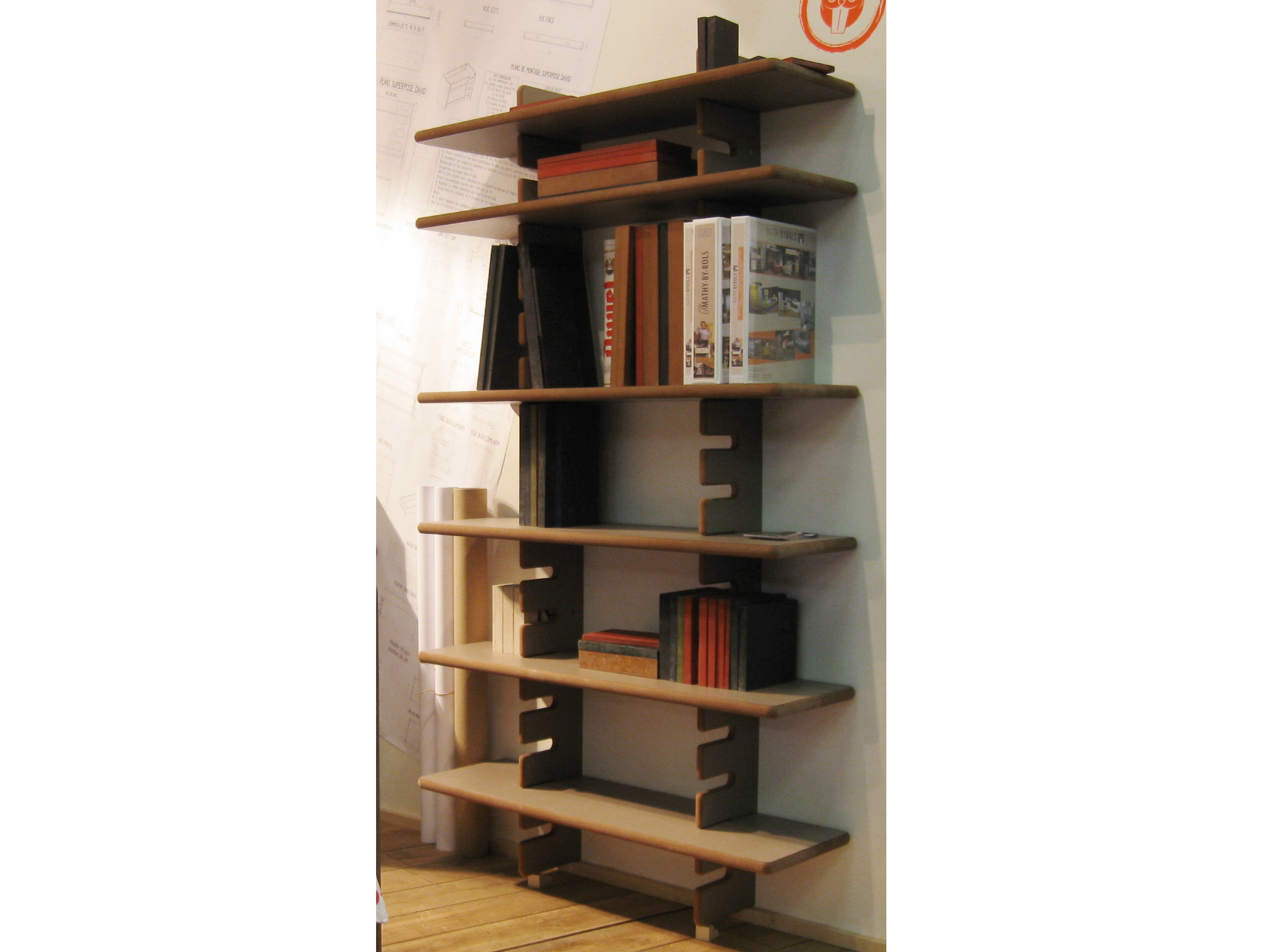Libreria a giorno a parete componibile in MDF DAVID  Libreria a ...