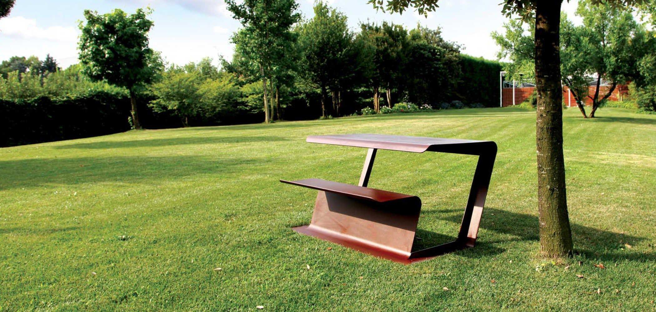 table pour pique nique en corten merenda by metalco. Black Bedroom Furniture Sets. Home Design Ideas