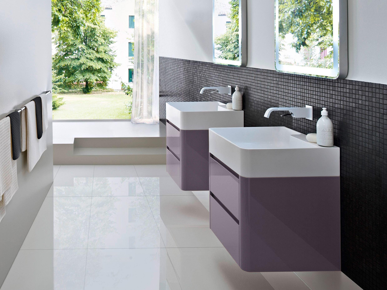 Mobile lavabo in wengè con cassetti COMP MSP04 by IdeaGroup