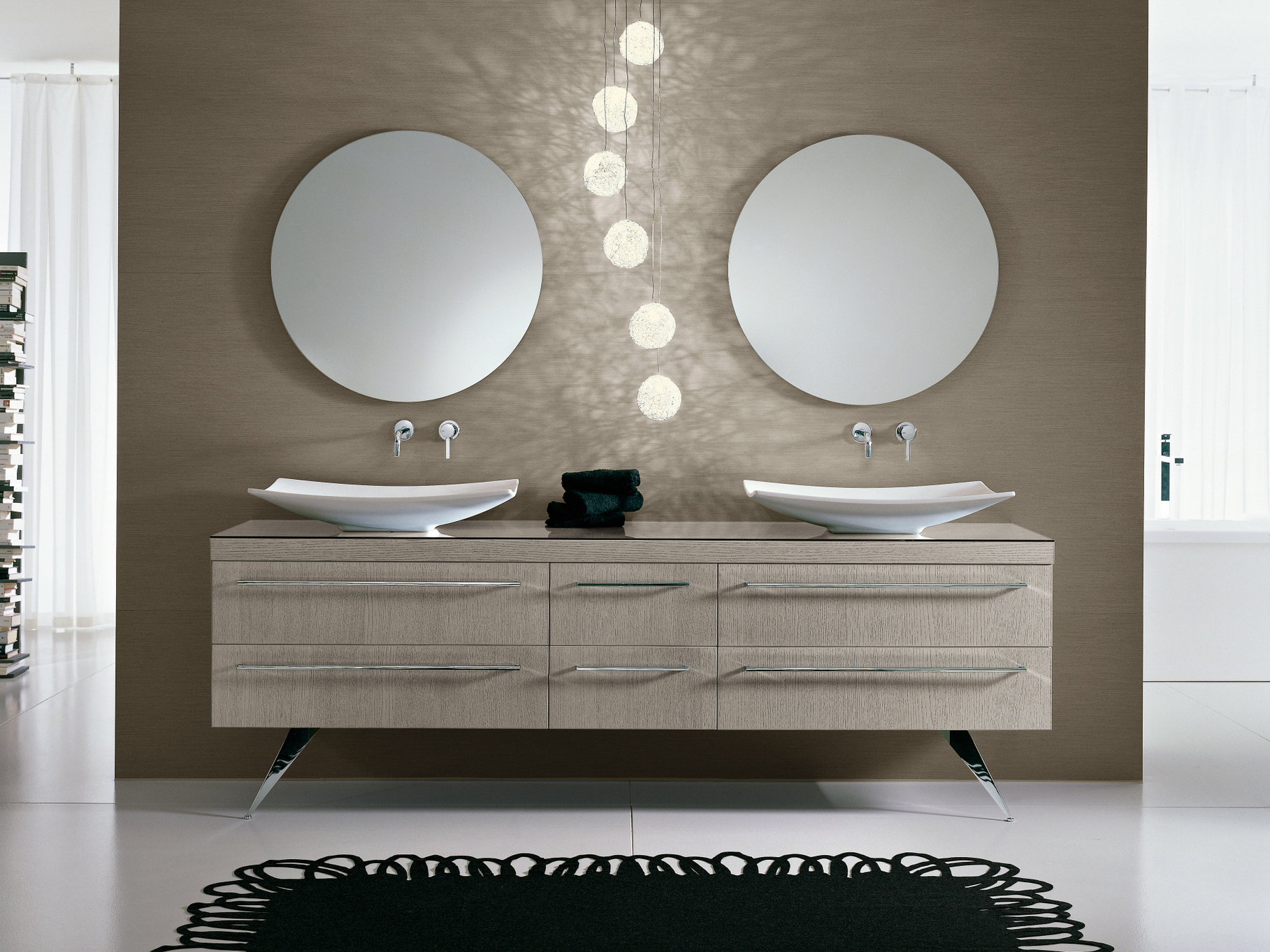 Mueble bajo lavabo doble con espejo comp te8 by ideagroup for Lavandino bagno