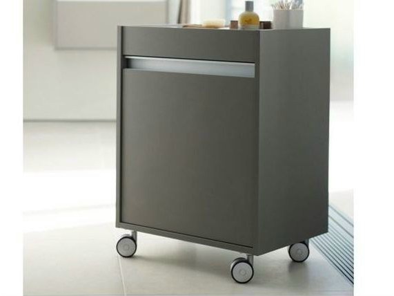 Meuble pour salle de bain avec rangement roulettes ketho for Prix meuble salle de bain duravit