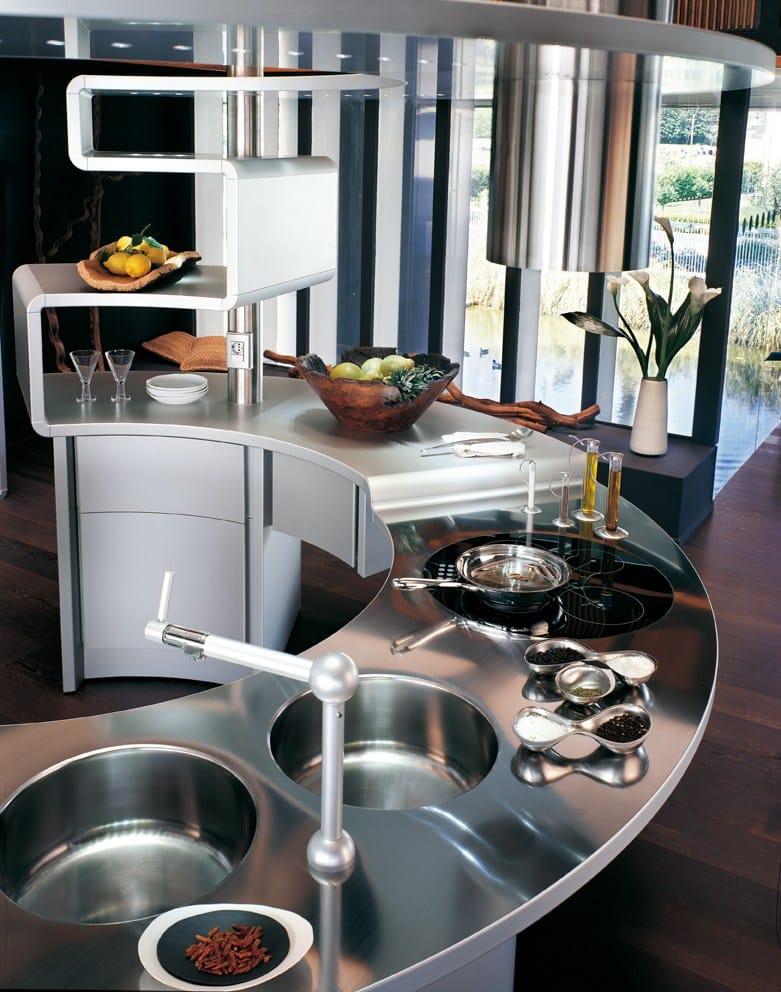 Cucina in alluminio con penisola acropolis by snaidero design pininfarina - Mobili snaidero majano ...