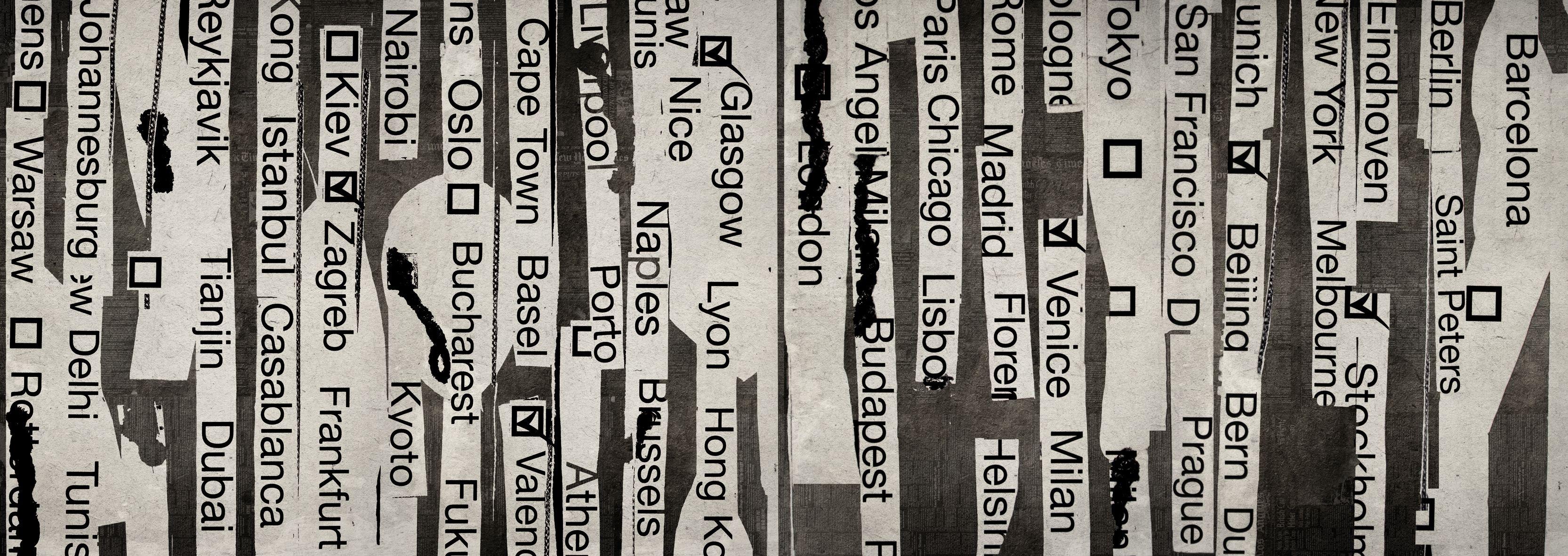 Carta da parati con scritte round the world by wall dec for Carta da parati con scritte