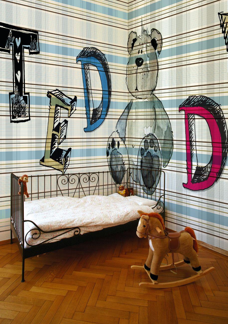 Carta da parati tartan per bambini GUGU GAGA by Wall&decò design ...