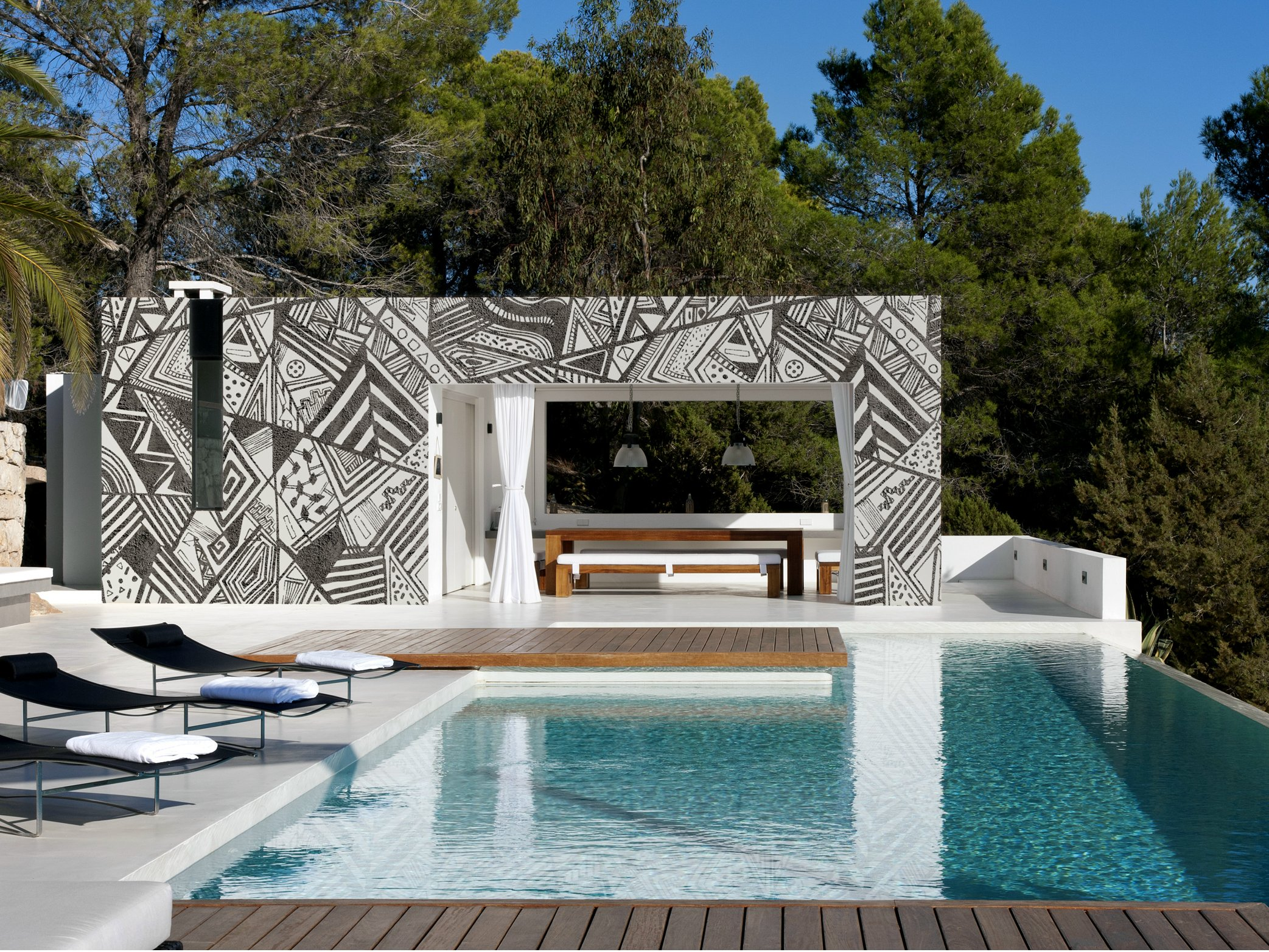 geometric outdoor wallpaper afromix by wall dec design. Black Bedroom Furniture Sets. Home Design Ideas
