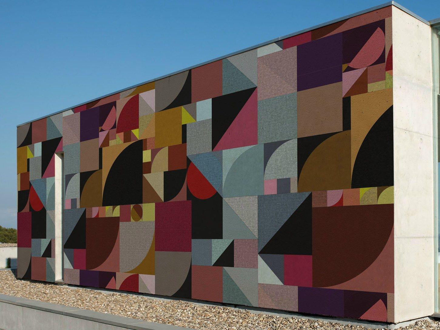 Carta da parati geometrica per esterni bauhaus by wall - Carta da parati per esterno ...
