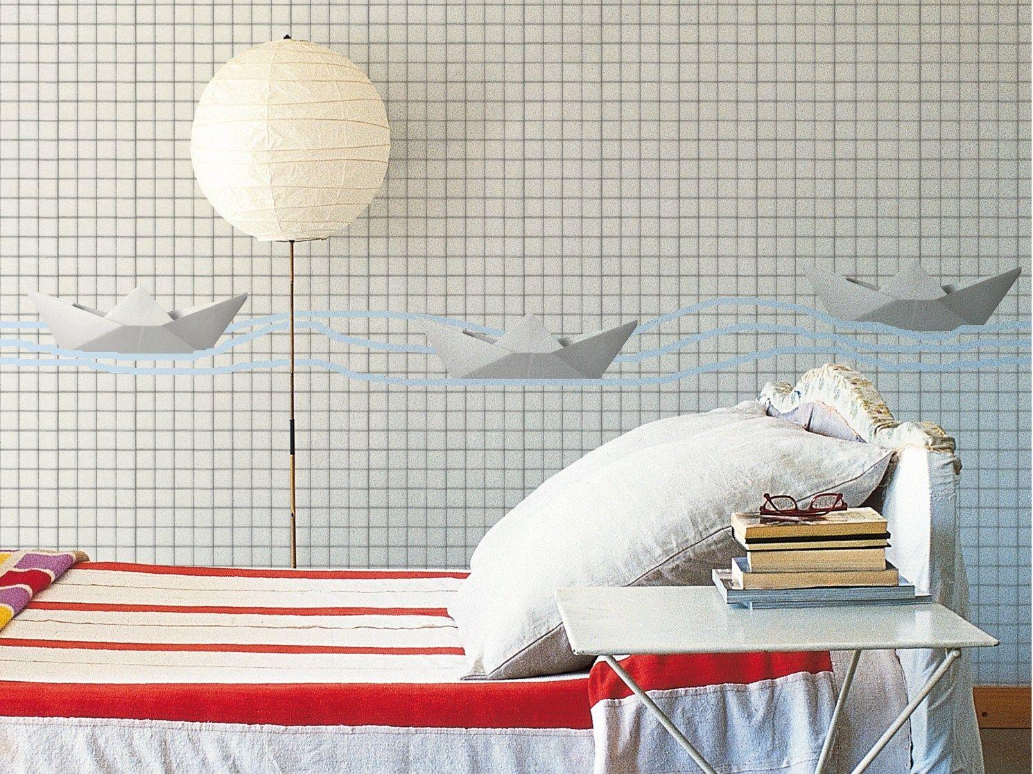 Papier peint carreaux origami by wall dec design for Papier peint carreaux