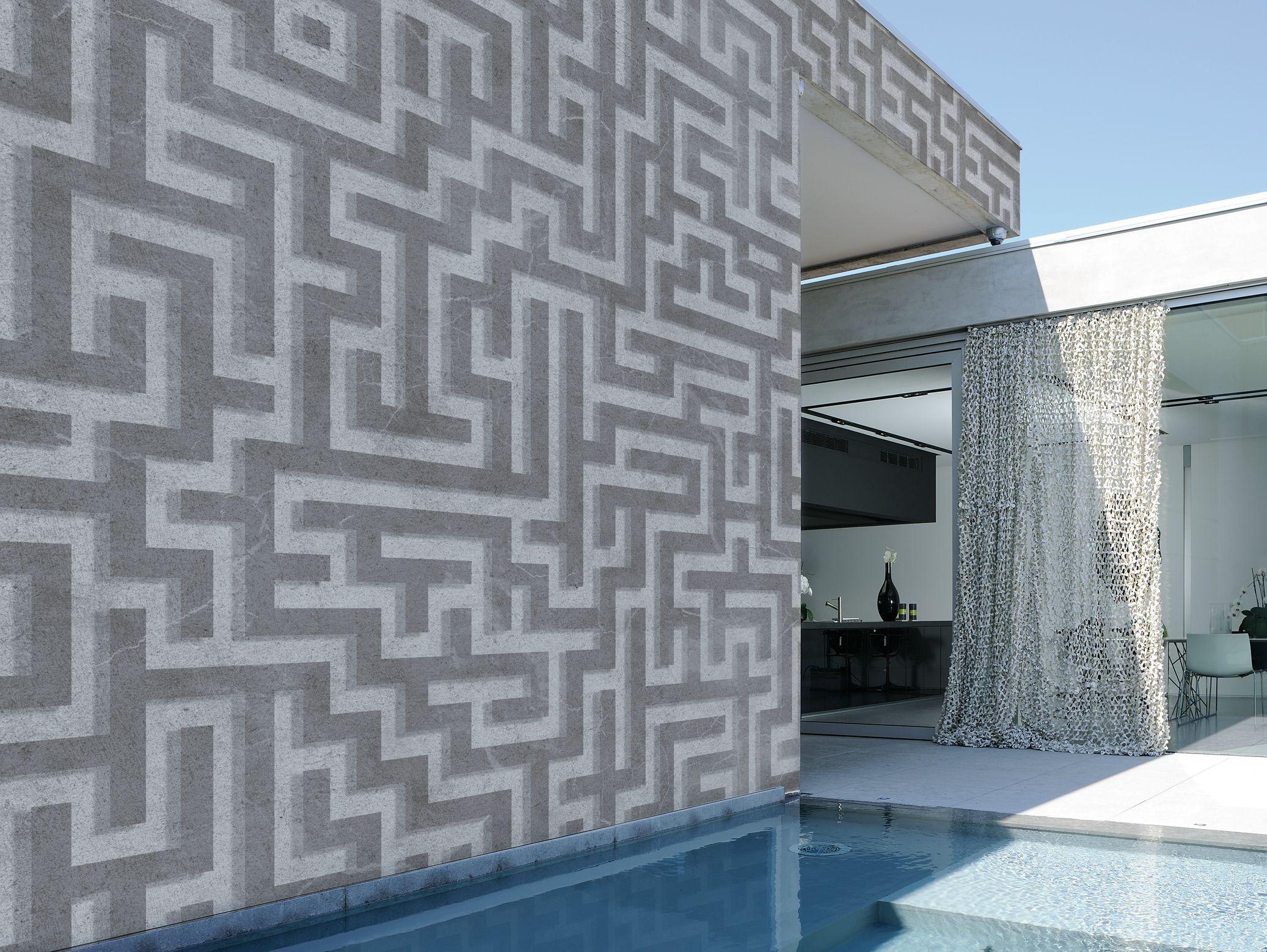 Carta da parati geometrica per esterni labyrinth by wall for Carta parati esterno