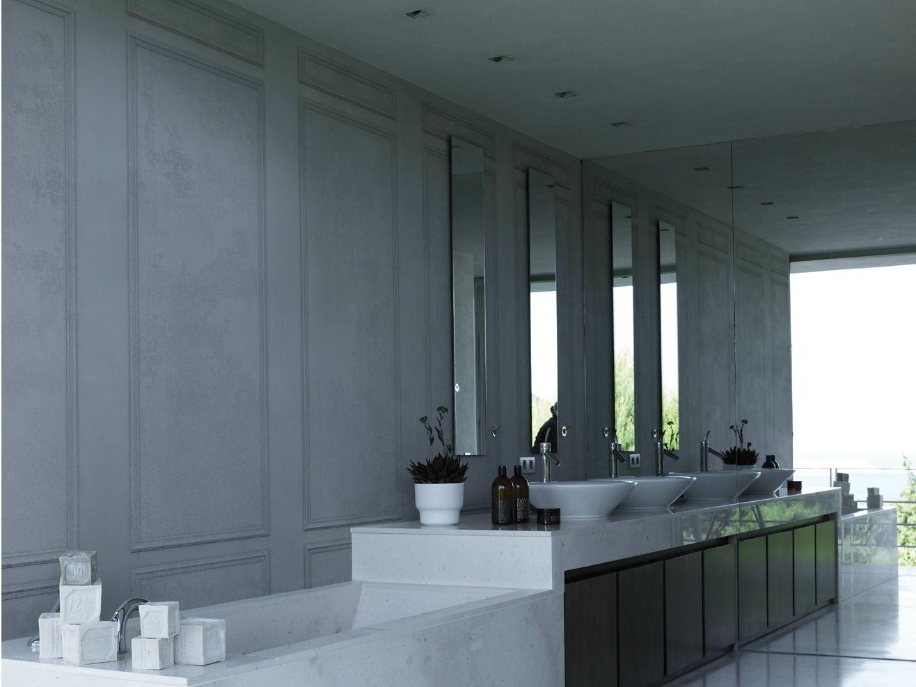 papier peint aspect bois trompe l 39 oeil pour salle de bain le grand palais by wall dec design. Black Bedroom Furniture Sets. Home Design Ideas