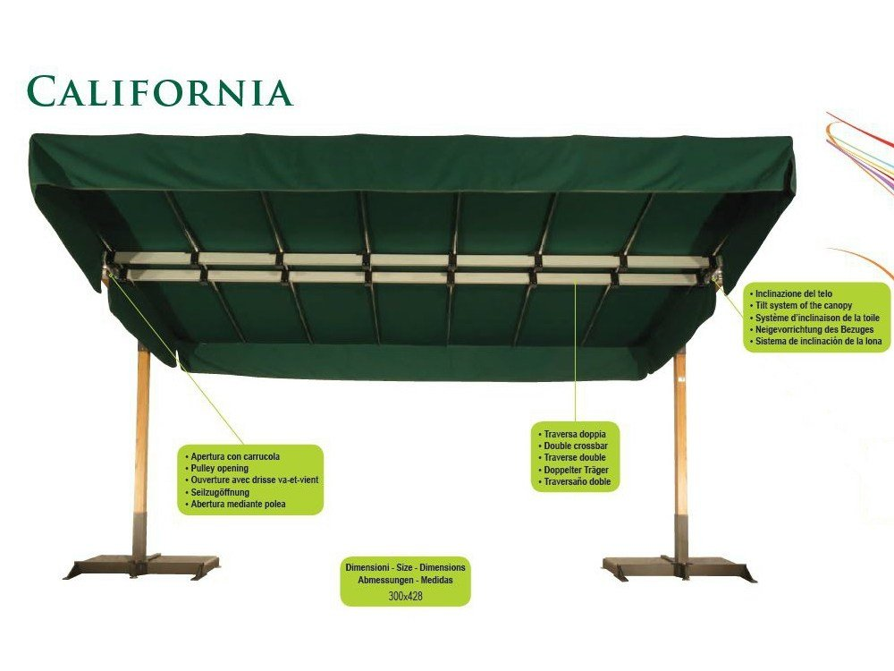 Parasol orientable en aluminium california graphite by fim - Parasol deporte orientable et inclinable ...