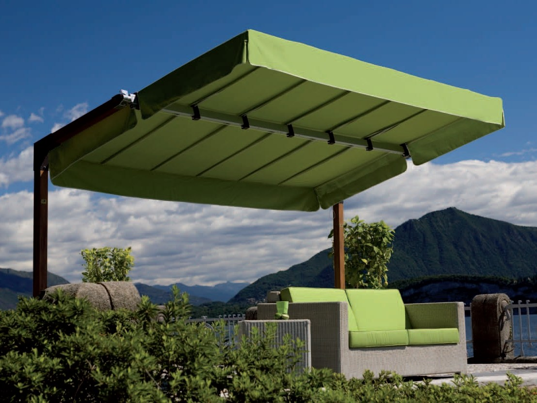parasol orientable en aluminium miami wood by fim. Black Bedroom Furniture Sets. Home Design Ideas