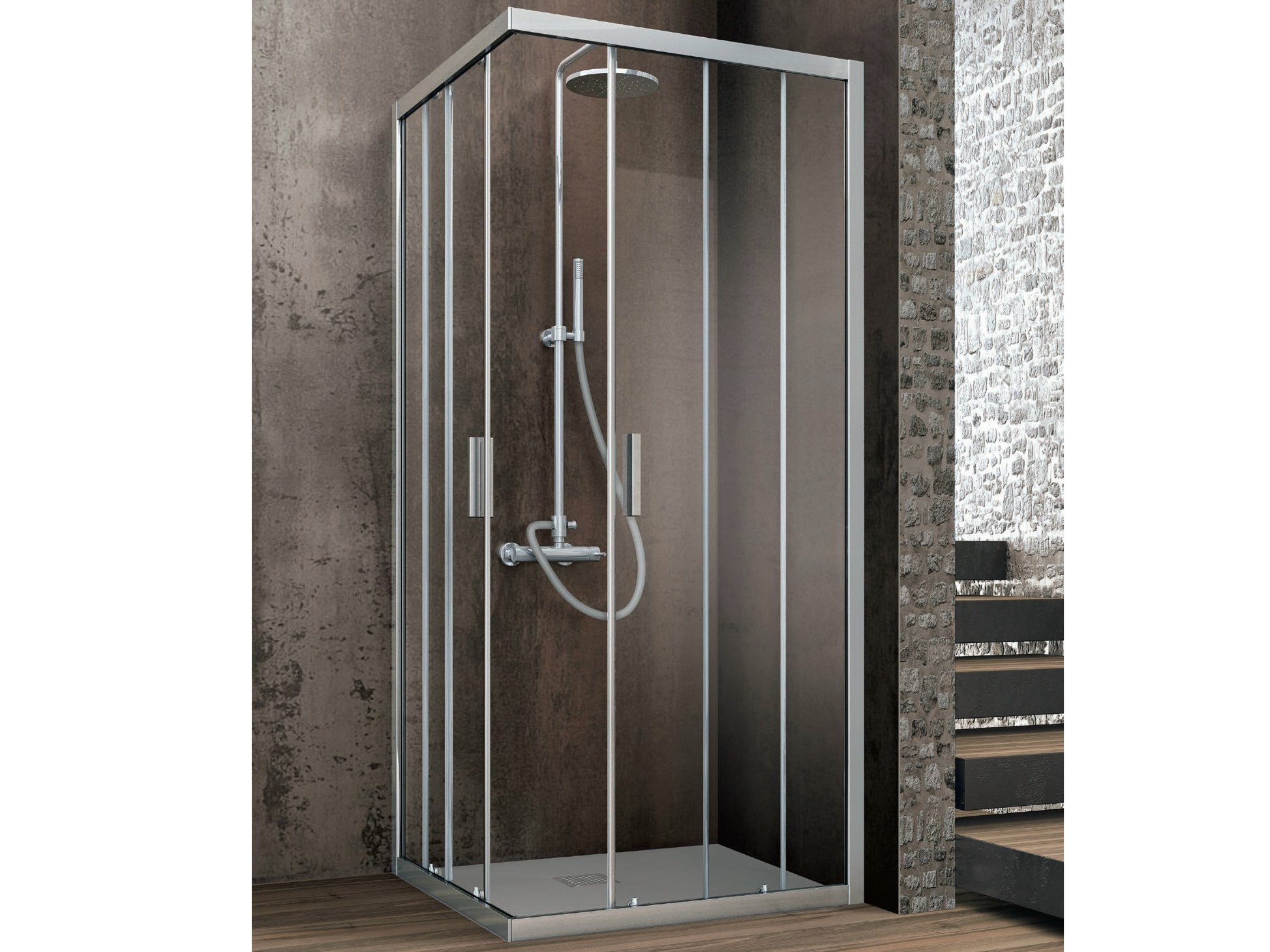 cabine de douche d 39 angle rectangulaire en cristal portes coulissantes aster t cabine de. Black Bedroom Furniture Sets. Home Design Ideas