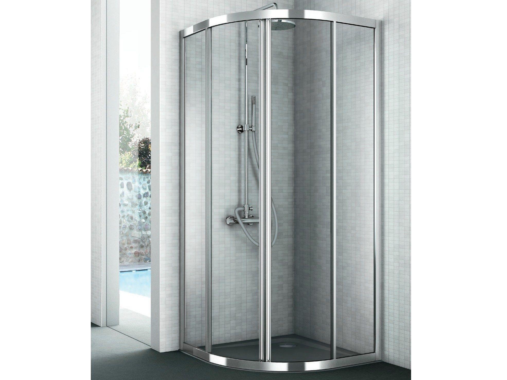 Cabina de ducha de esquina de cristal con puertas for Cabina de ducha easy