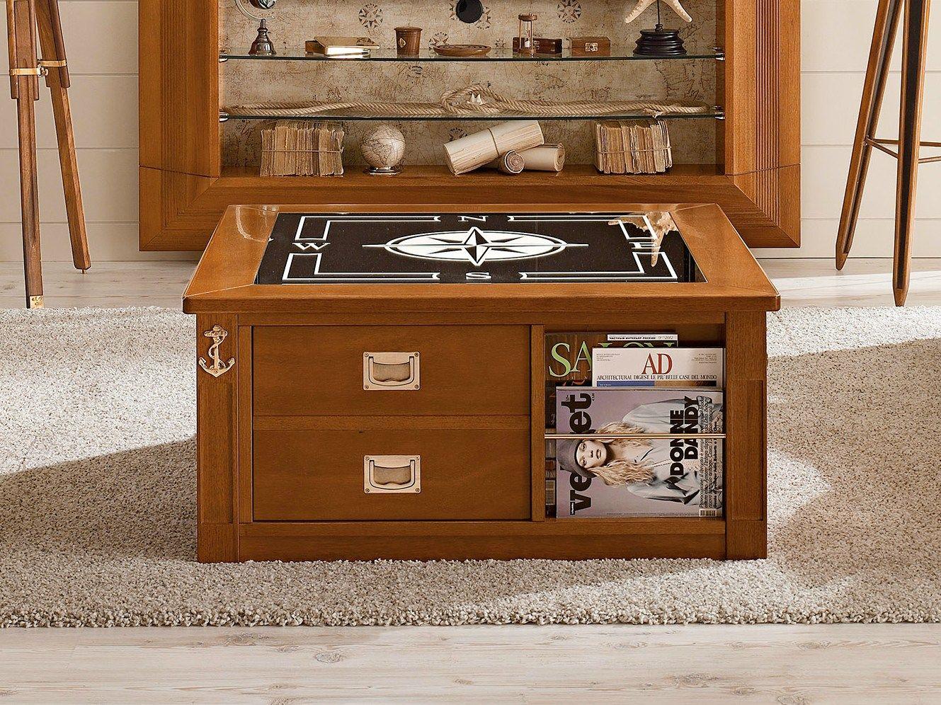 1009 tavolino con portariviste by caroti for Tavolino salotto legno