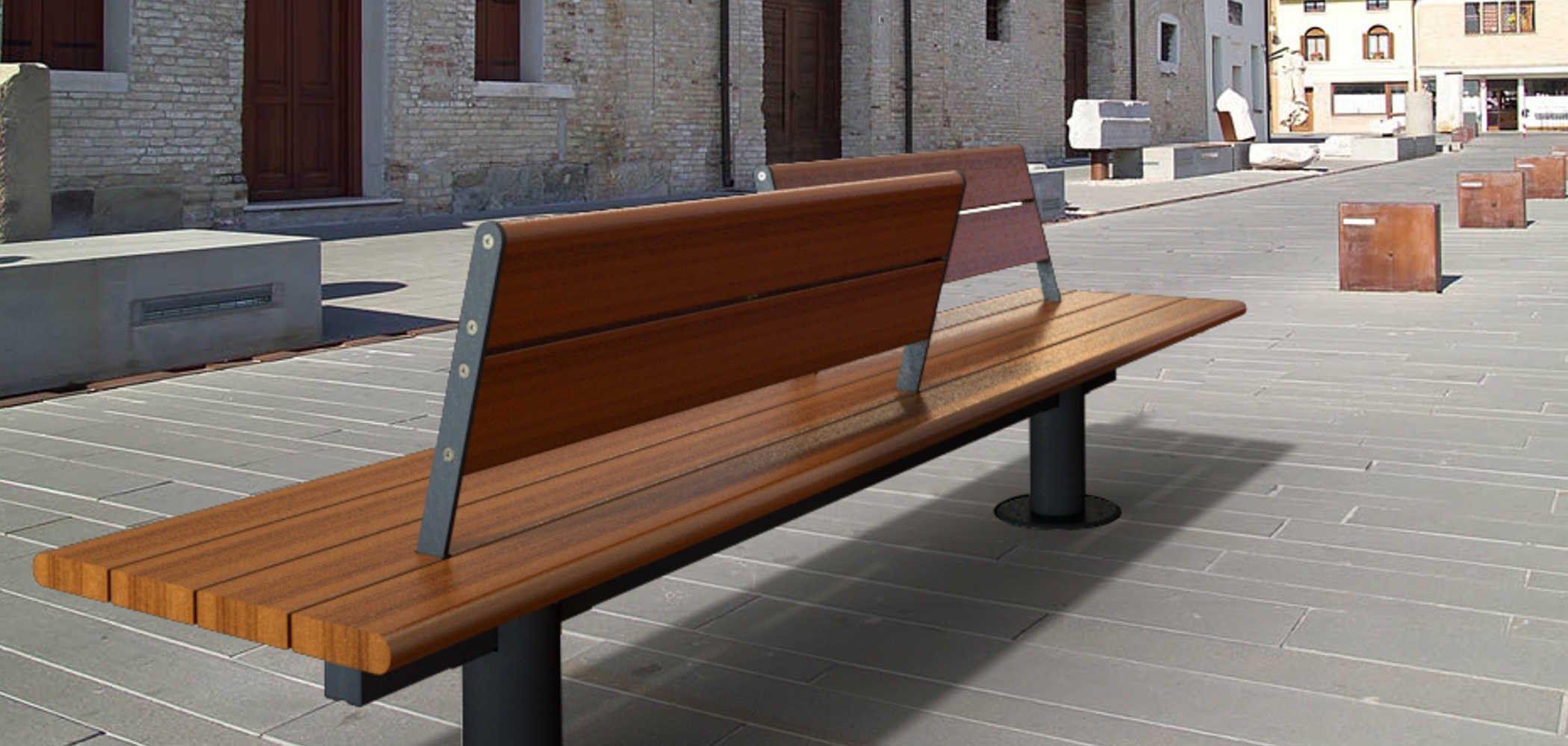 Panchina in legno in stile moderno con schienale valencia for Panchine arredo urbano prezzi