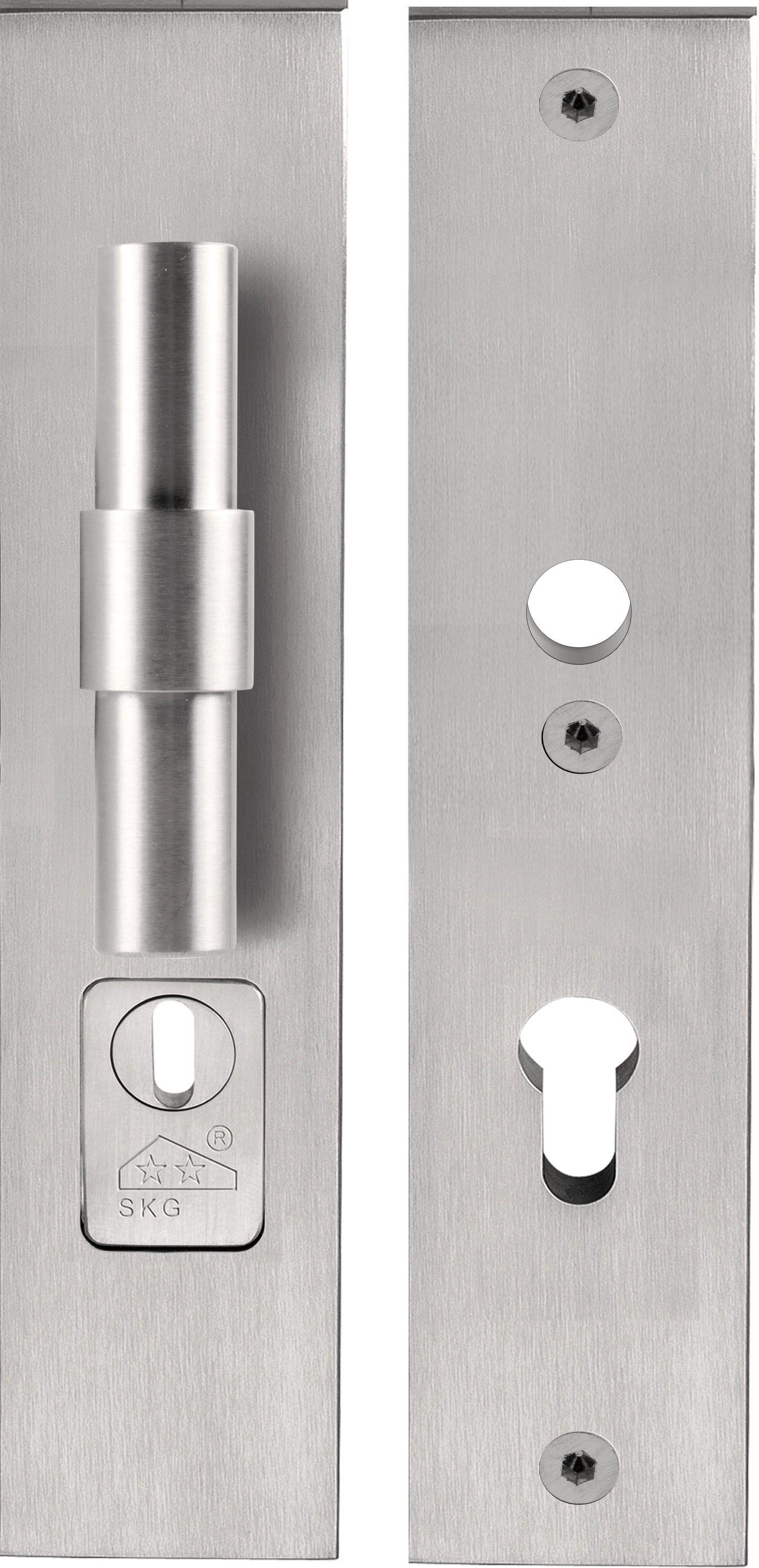 Maniglia per porte d 39 ingresso su piastra in acciaio inox - Maniglia porta ingresso ...