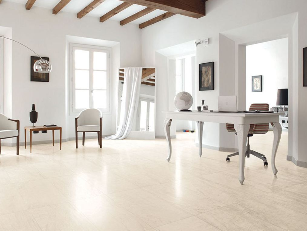 Pavimento in gres porcellanato smaltato effetto marmo MARMO D Travertino Bianco by Impronta ...