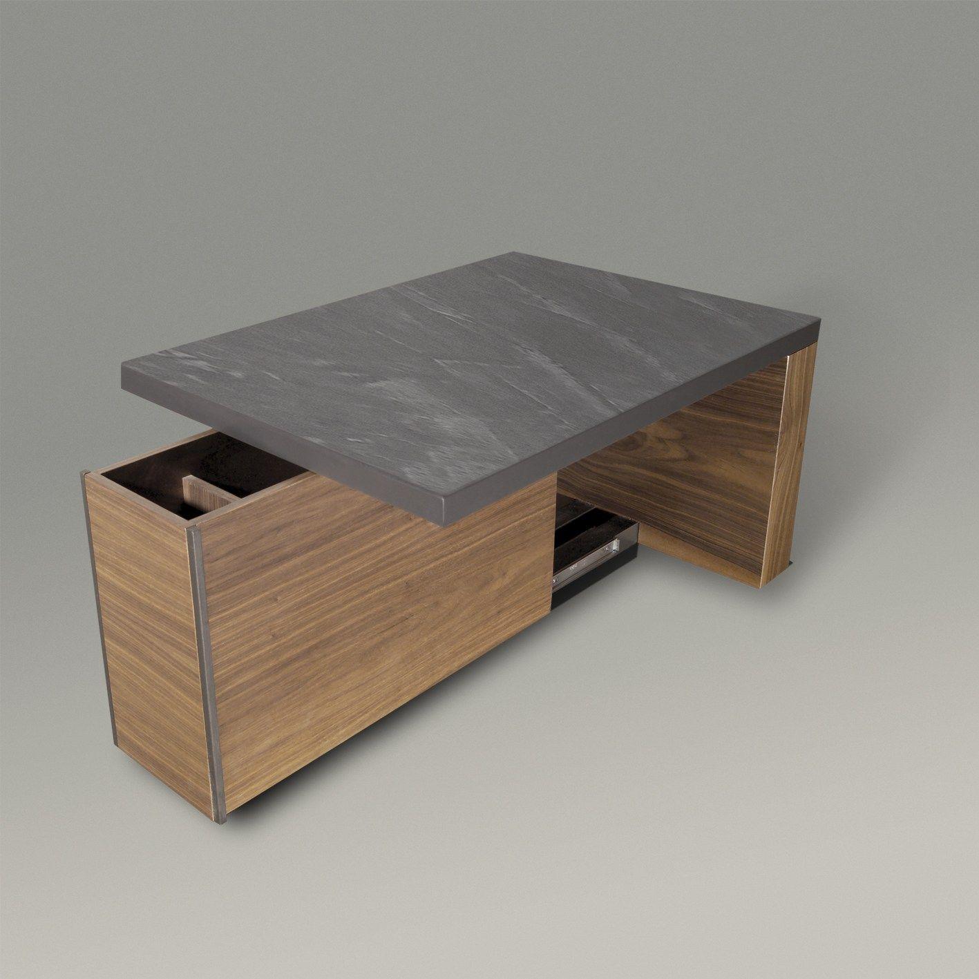 Table basse rectangulaire en bois avec porte revues - Table basse avec pouf integre ...