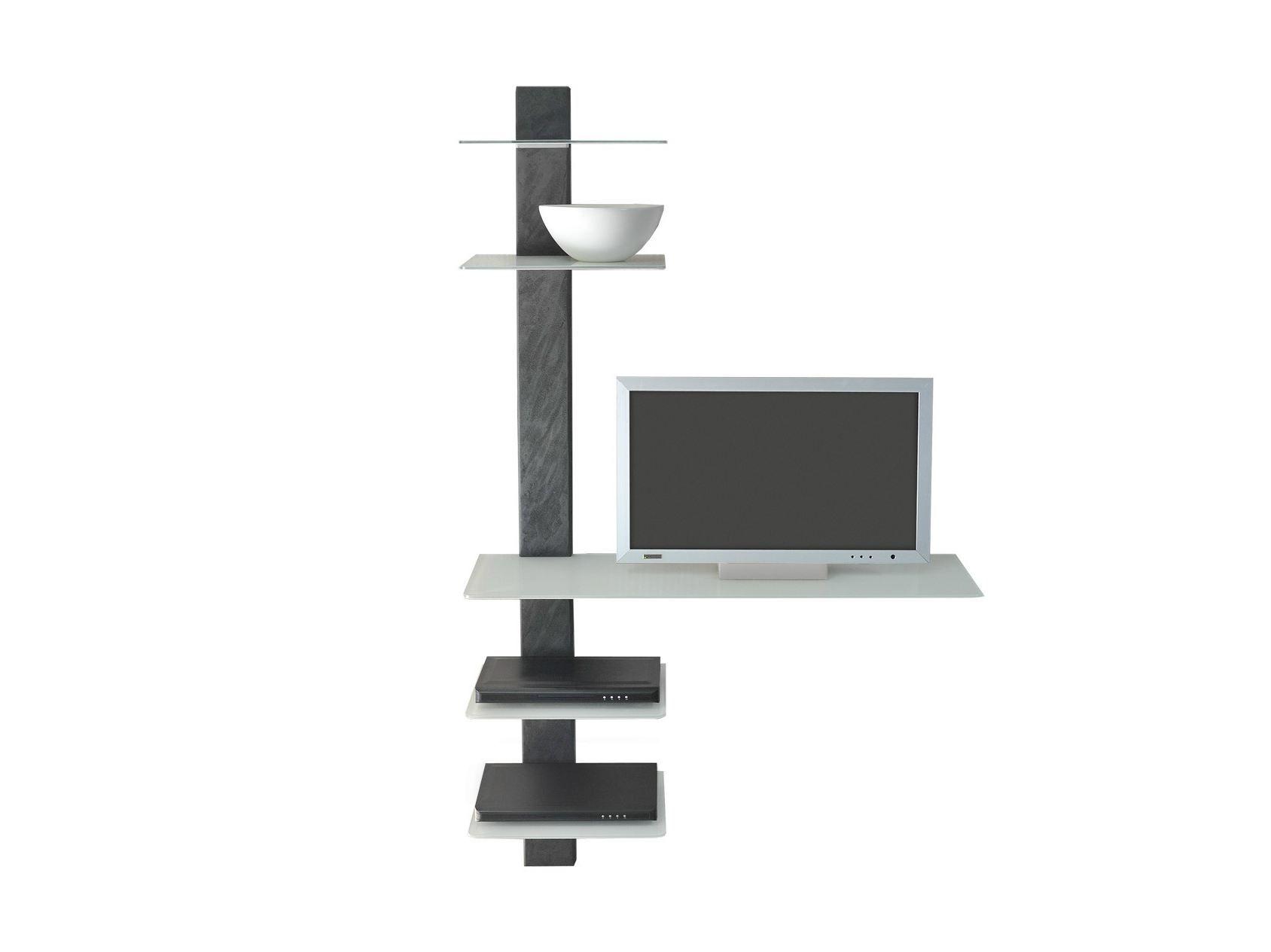 Meuble tv en verre avec tag re 145 by wissmann raumobjekte for Etagere meuble tv