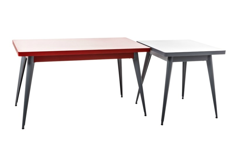 Table manger carr e collection 55 by tolix steel design for Table exterieur galvanise