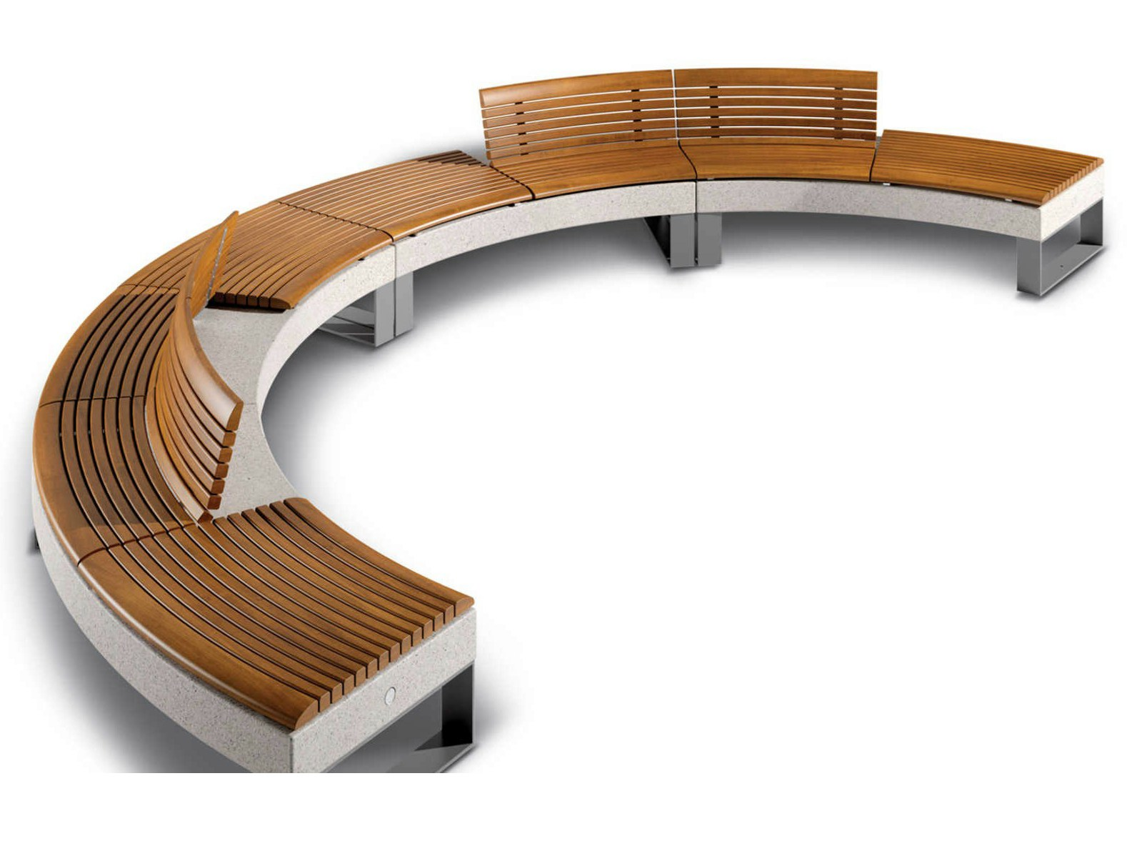 sectional curved modular bench diamante by metalco design michele slaviero