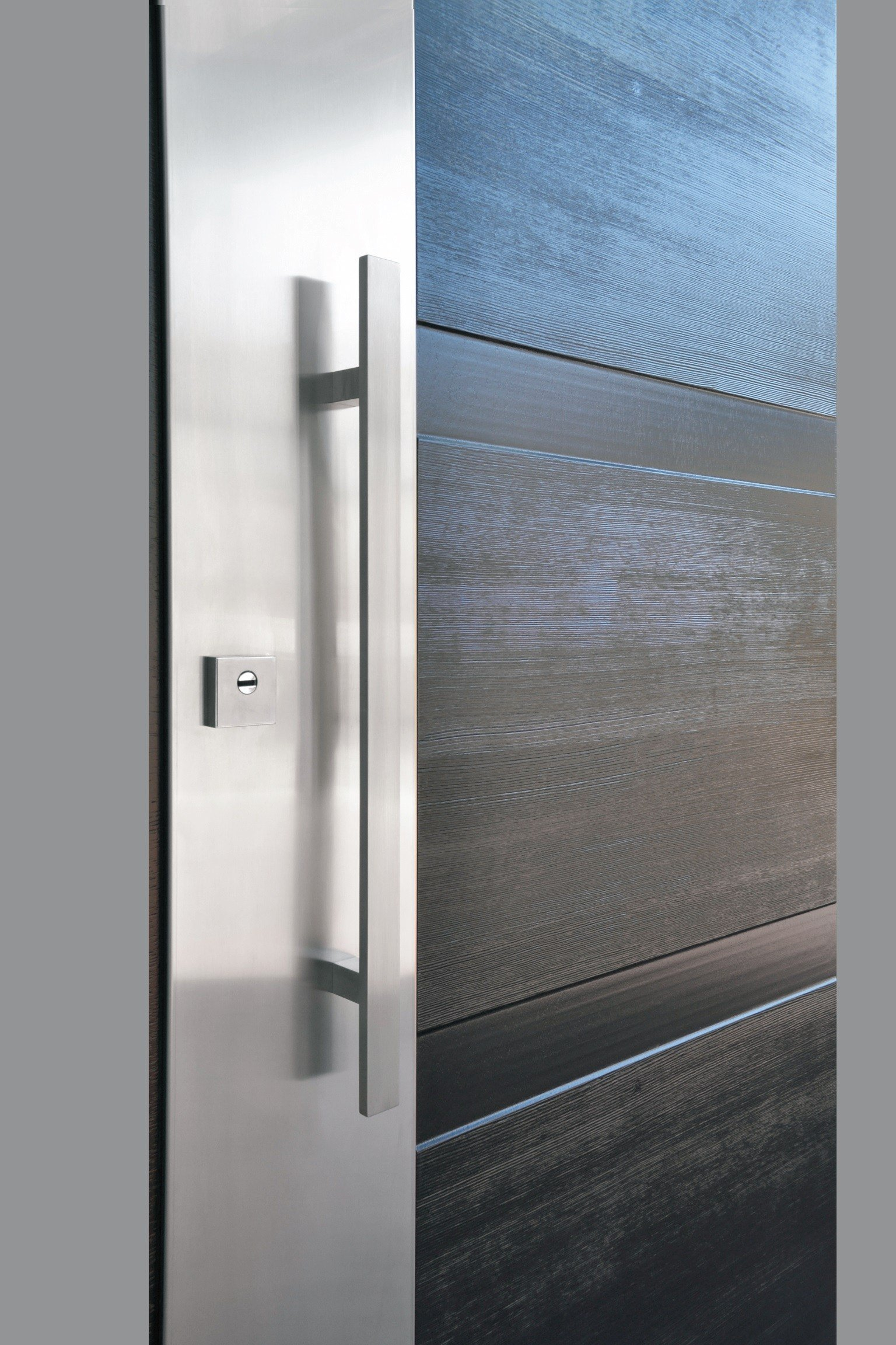2304 #376894 Stainless Steel And Wood Armoured Door Panel STEEL LEGNO (S711) By OMI  save image Stainless Steel Entrance Doors 47371536
