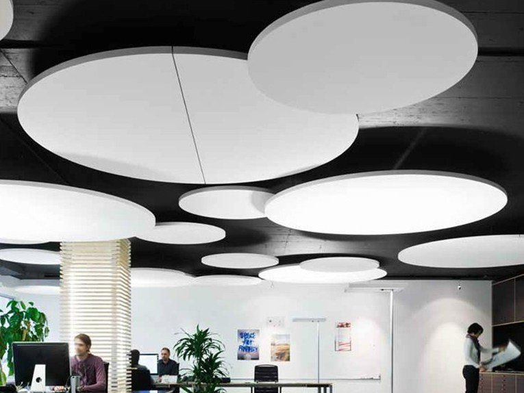 Glass wool acoustic ceiling clouds ecophon solo circle by for How to make clouds on ceiling