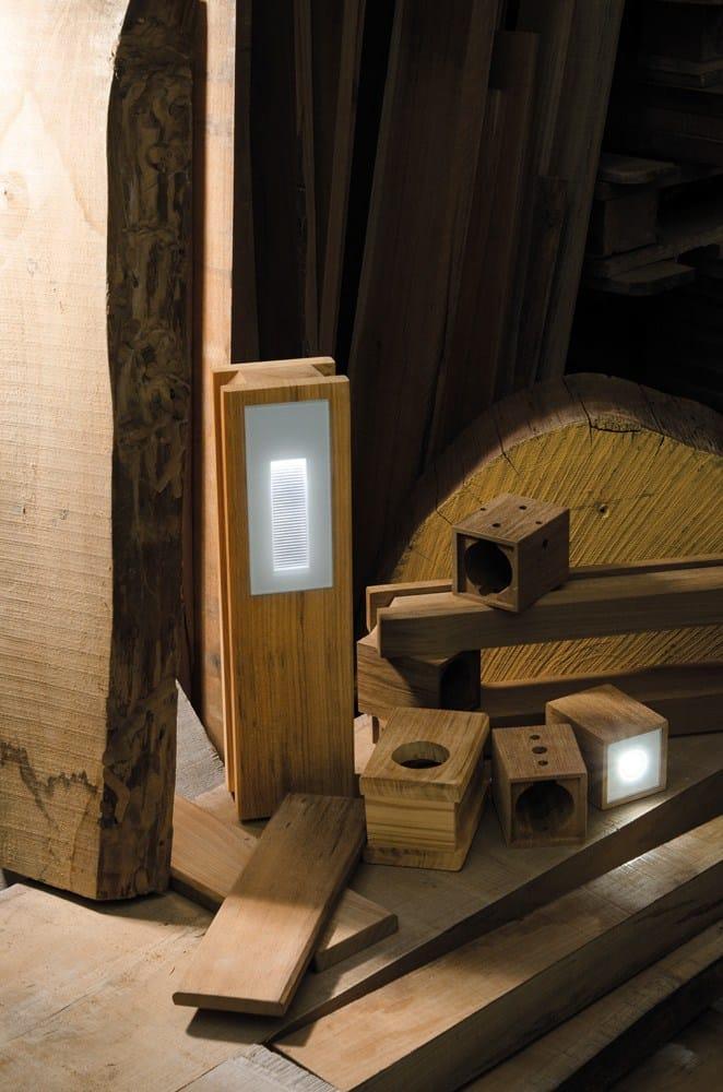 Teak pendant lamp / ceiling lamp LEGNO STYLE 60Q by Lombardo design Mirko Salvoni