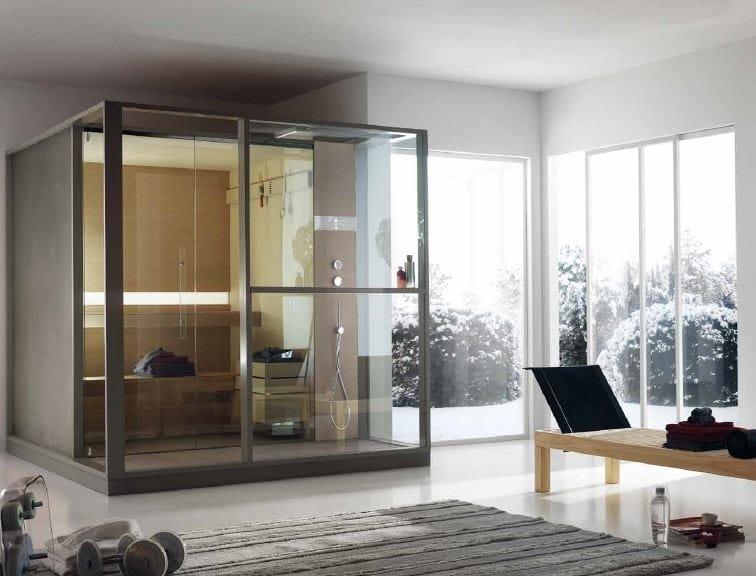 Sauna finlandaise avec douche logica sauna by effegibi for Sauna exterieur avec douche
