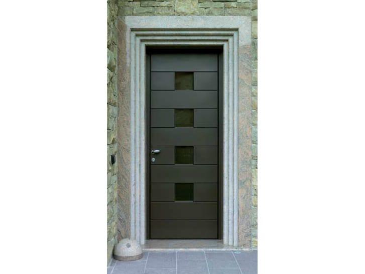 Puerta de entrada de aluminio y madera by carminati serramenti for Puertas de aluminio para entrada
